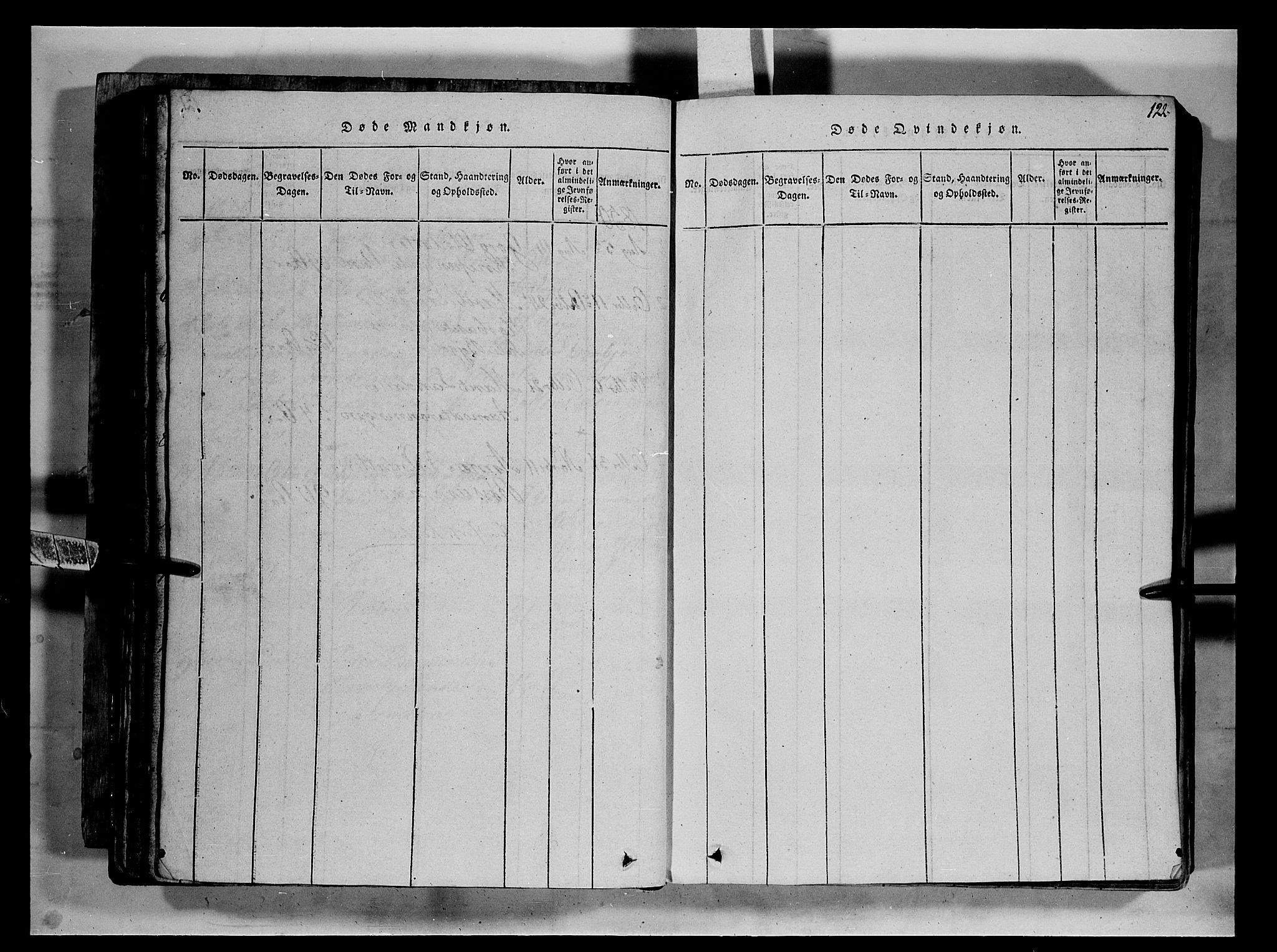 SAH, Fron prestekontor, H/Ha/Hab/L0002: Klokkerbok nr. 2, 1816-1850, s. 122