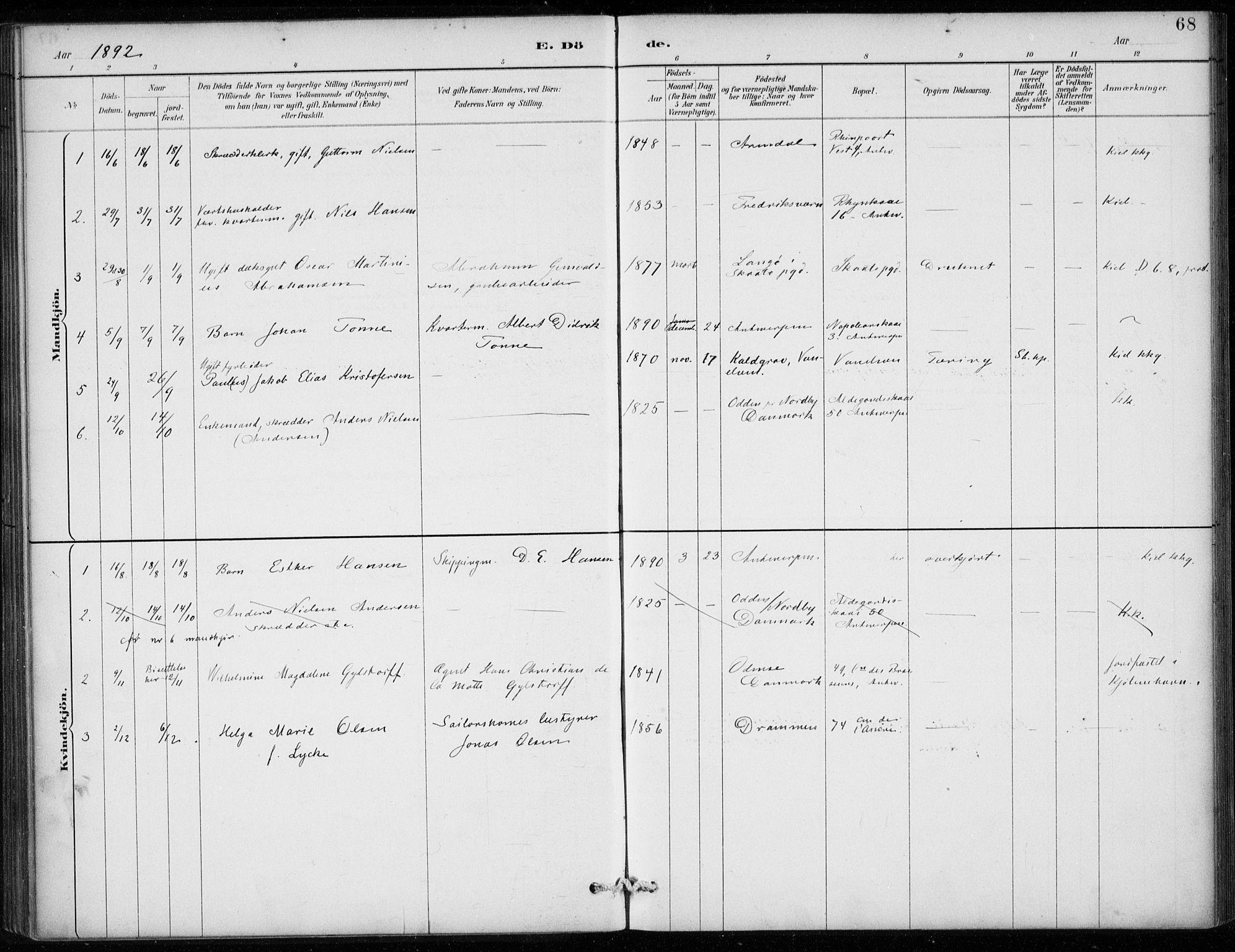 SAB, Den Norske Sjømannsmisjon i utlandet*, Ministerialbok nr. A 2, 1887-1913, s. 68