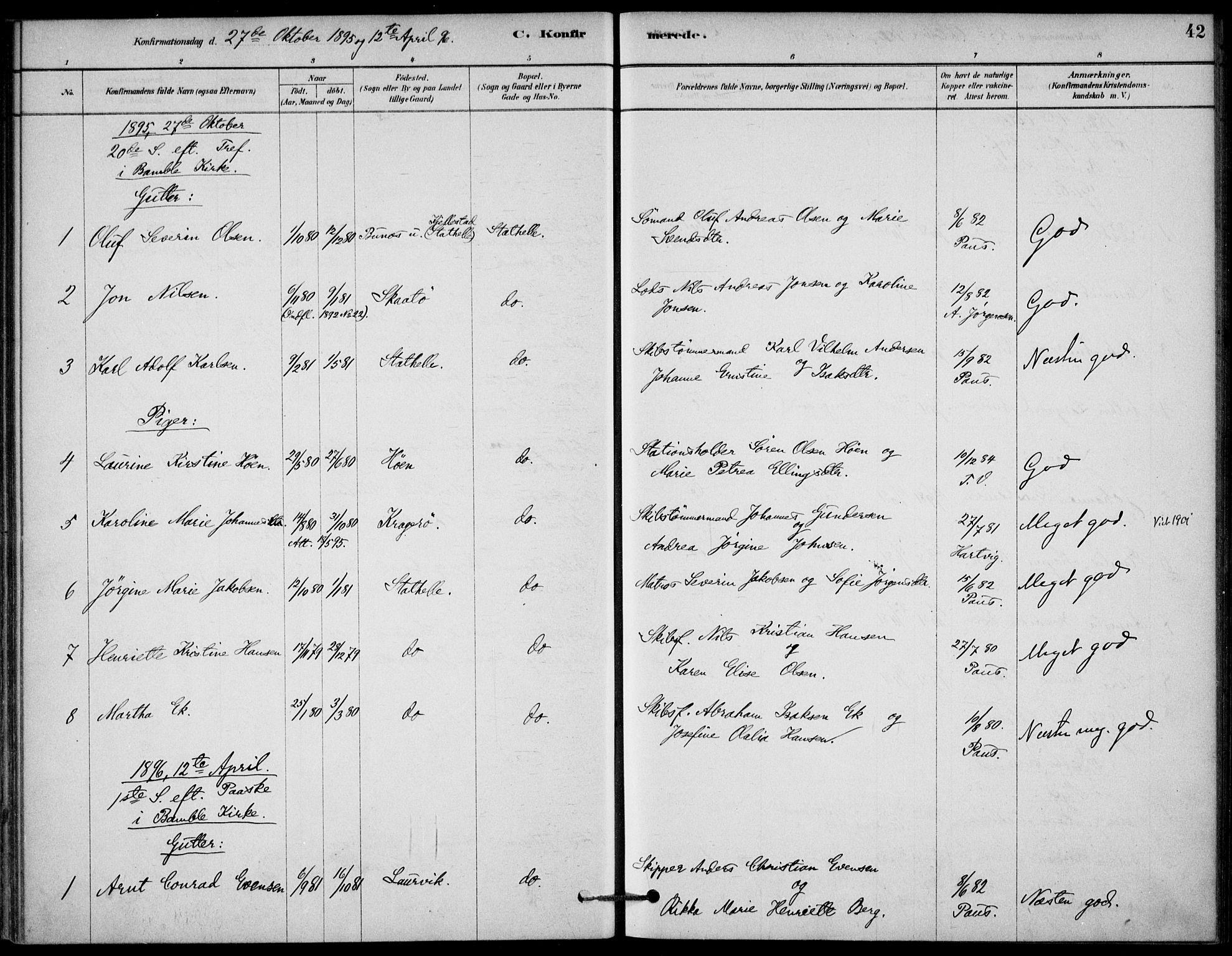 SAKO, Bamble kirkebøker, G/Gb/L0001: Klokkerbok nr. II 1, 1878-1900, s. 42