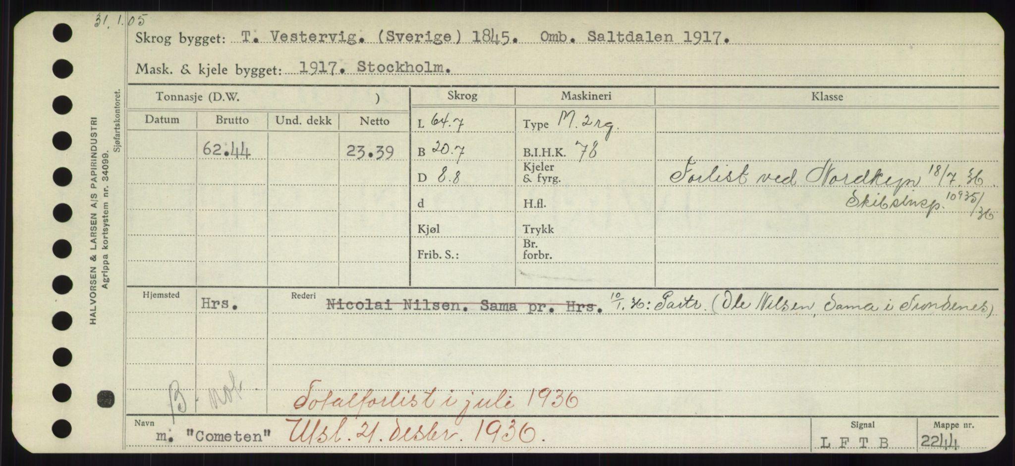 RA, Sjøfartsdirektoratet med forløpere, Skipsmålingen, H/Hd/L0008: Fartøy, C-D, s. 133