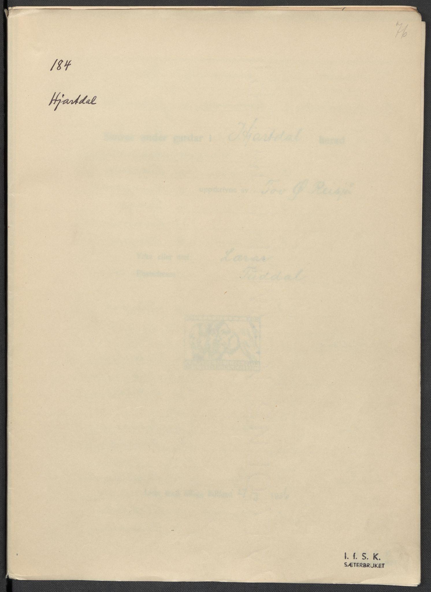 RA, Instituttet for sammenlignende kulturforskning, F/Fc/L0007: Eske B7:, 1934-1937, s. 76