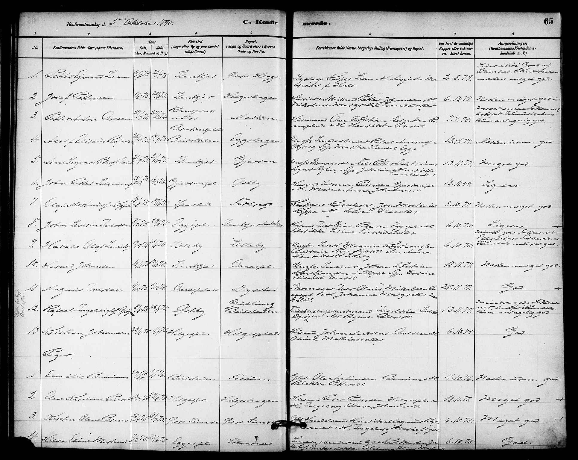 SAT, Ministerialprotokoller, klokkerbøker og fødselsregistre - Nord-Trøndelag, 740/L0378: Ministerialbok nr. 740A01, 1881-1895, s. 65