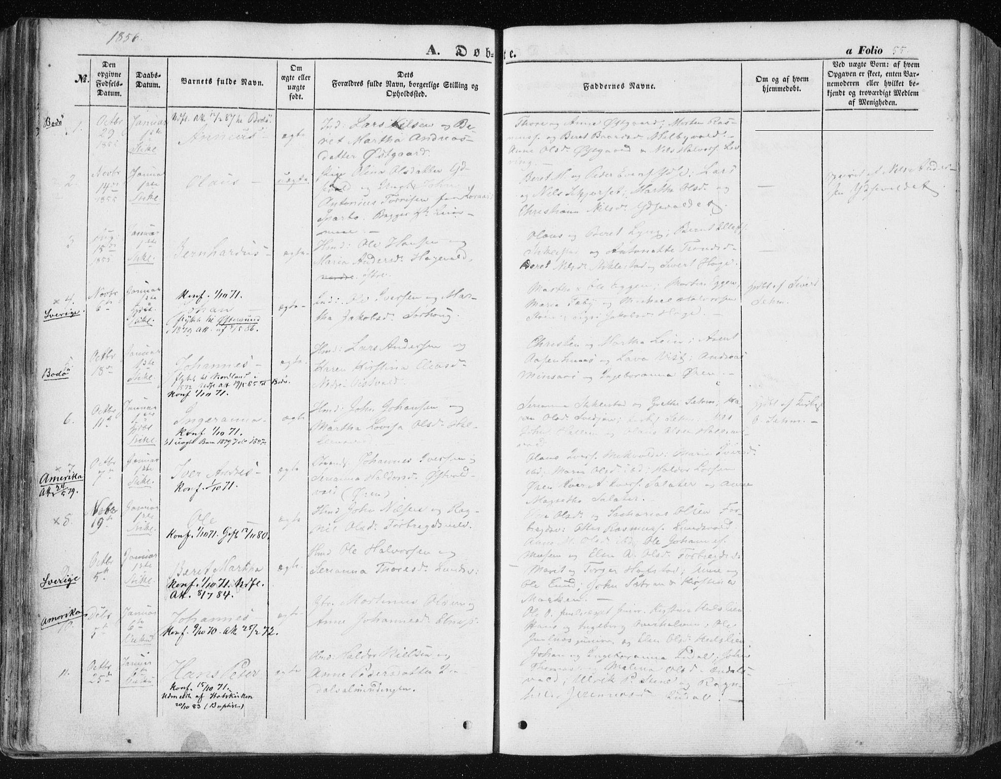 SAT, Ministerialprotokoller, klokkerbøker og fødselsregistre - Nord-Trøndelag, 723/L0240: Ministerialbok nr. 723A09, 1852-1860, s. 55
