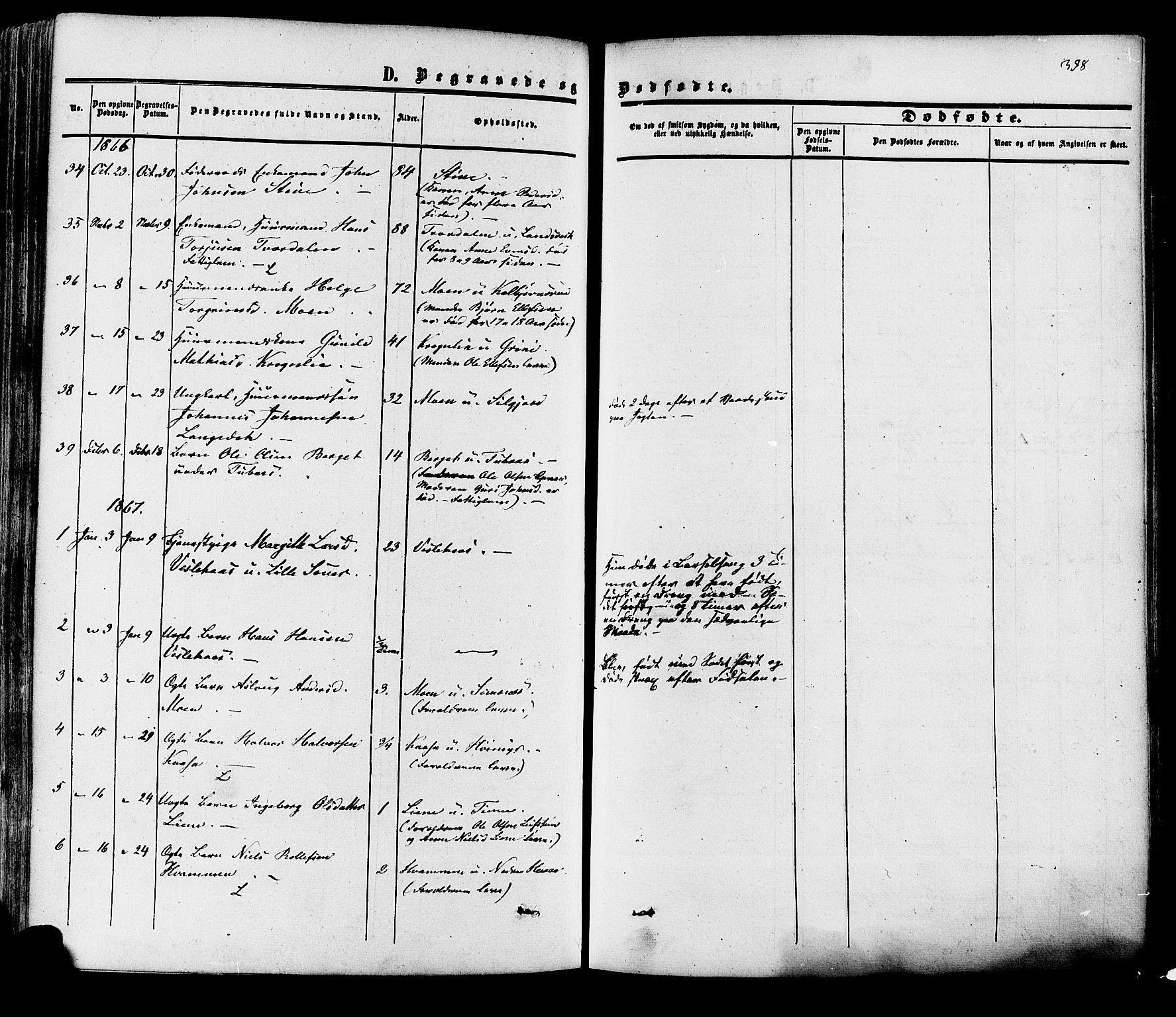 SAKO, Heddal kirkebøker, F/Fa/L0007: Ministerialbok nr. I 7, 1855-1877, s. 398