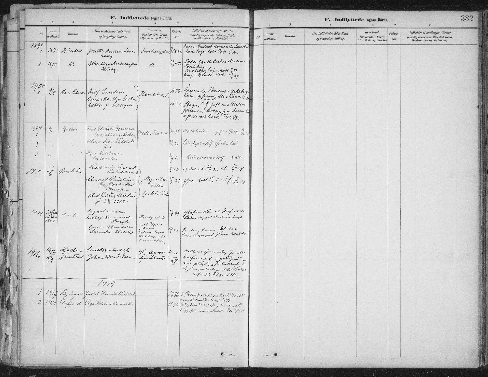 SAT, Ministerialprotokoller, klokkerbøker og fødselsregistre - Sør-Trøndelag, 603/L0167: Ministerialbok nr. 603A06, 1896-1932, s. 382