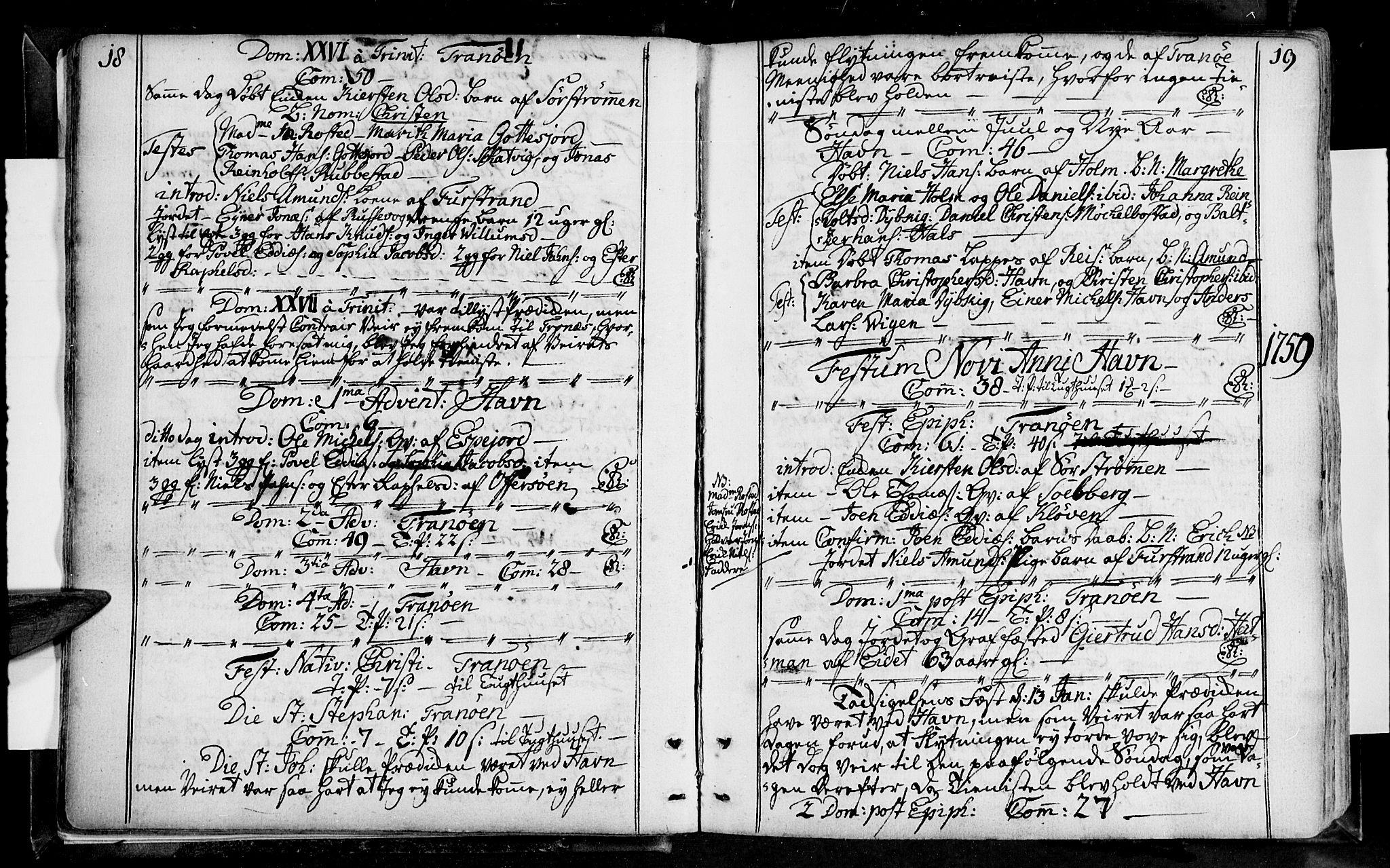 SATØ, Tranøy sokneprestkontor, I/Ia/Iaa/L0001kirke: Ministerialbok nr. 1, 1757-1773, s. 18-19