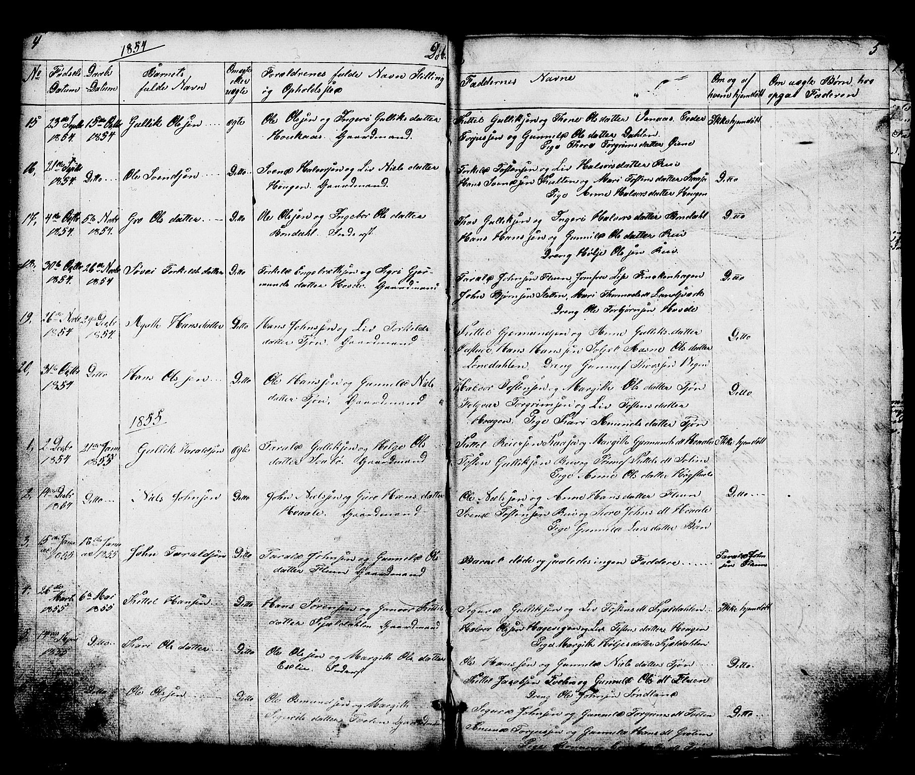 SAKO, Hjartdal kirkebøker, G/Gc/L0002: Klokkerbok nr. III 2, 1854-1890, s. 4-5