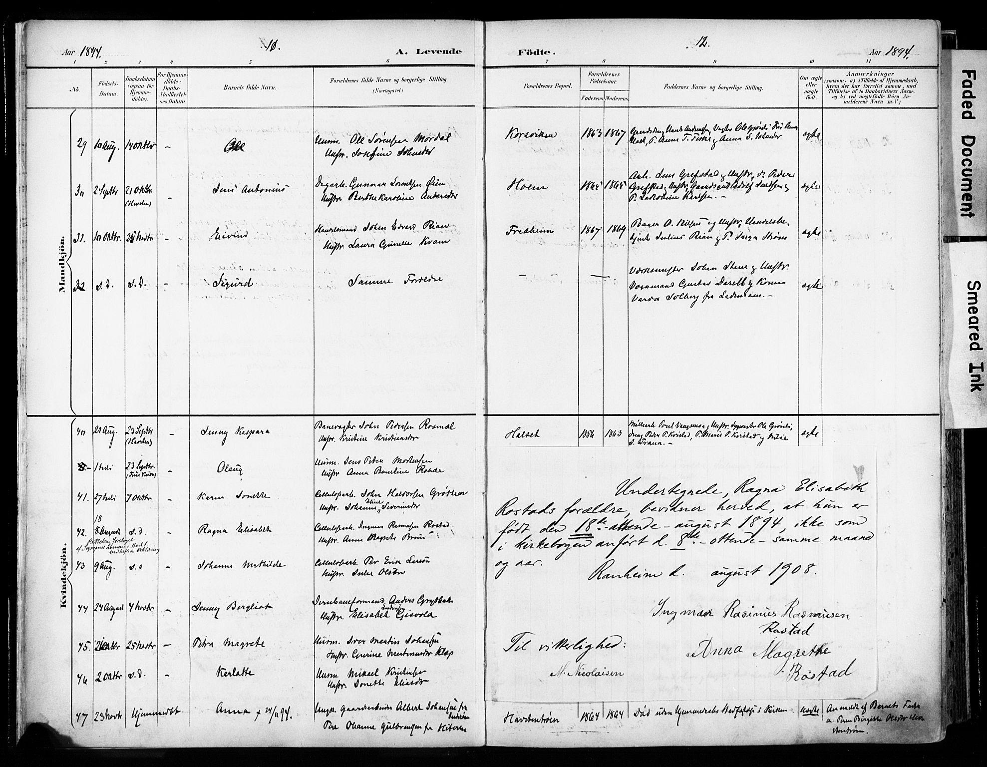 SAT, Ministerialprotokoller, klokkerbøker og fødselsregistre - Sør-Trøndelag, 606/L0301: Ministerialbok nr. 606A16, 1894-1907, s. 11-12