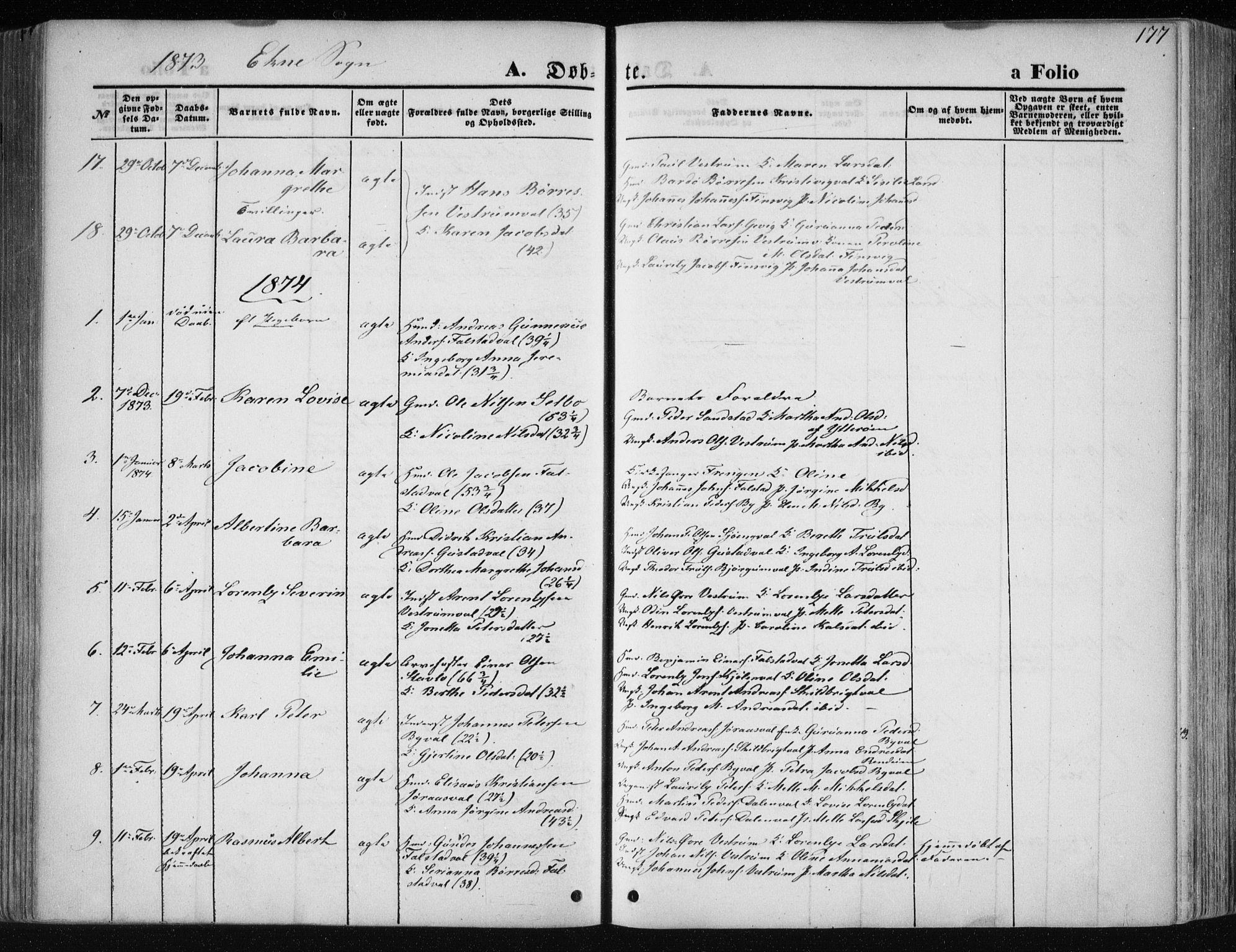 SAT, Ministerialprotokoller, klokkerbøker og fødselsregistre - Nord-Trøndelag, 717/L0158: Ministerialbok nr. 717A08 /2, 1863-1877, s. 177
