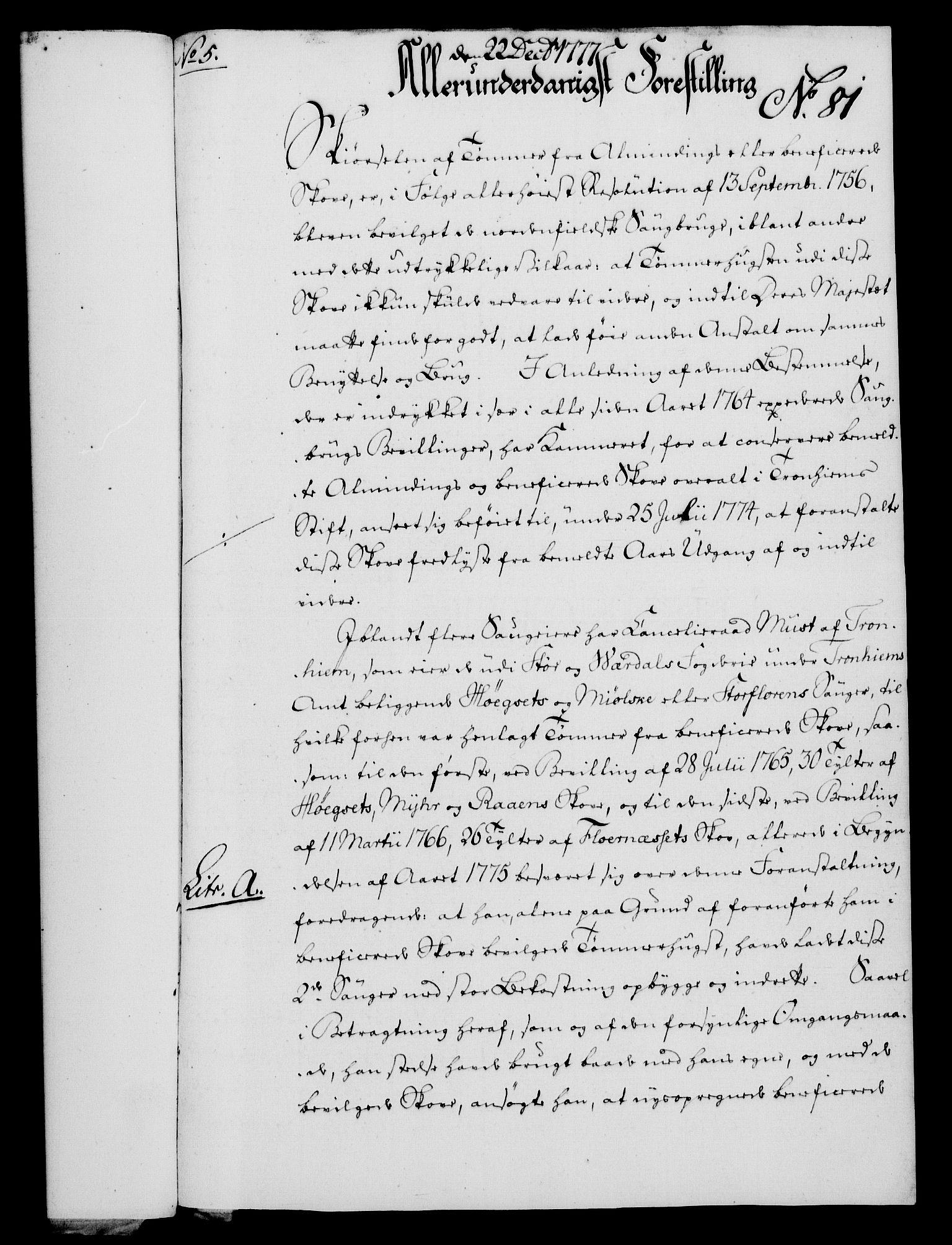 RA, Rentekammeret, Kammerkanselliet, G/Gf/Gfa/L0059: Norsk relasjons- og resolusjonsprotokoll (merket RK 52.59), 1777, s. 421