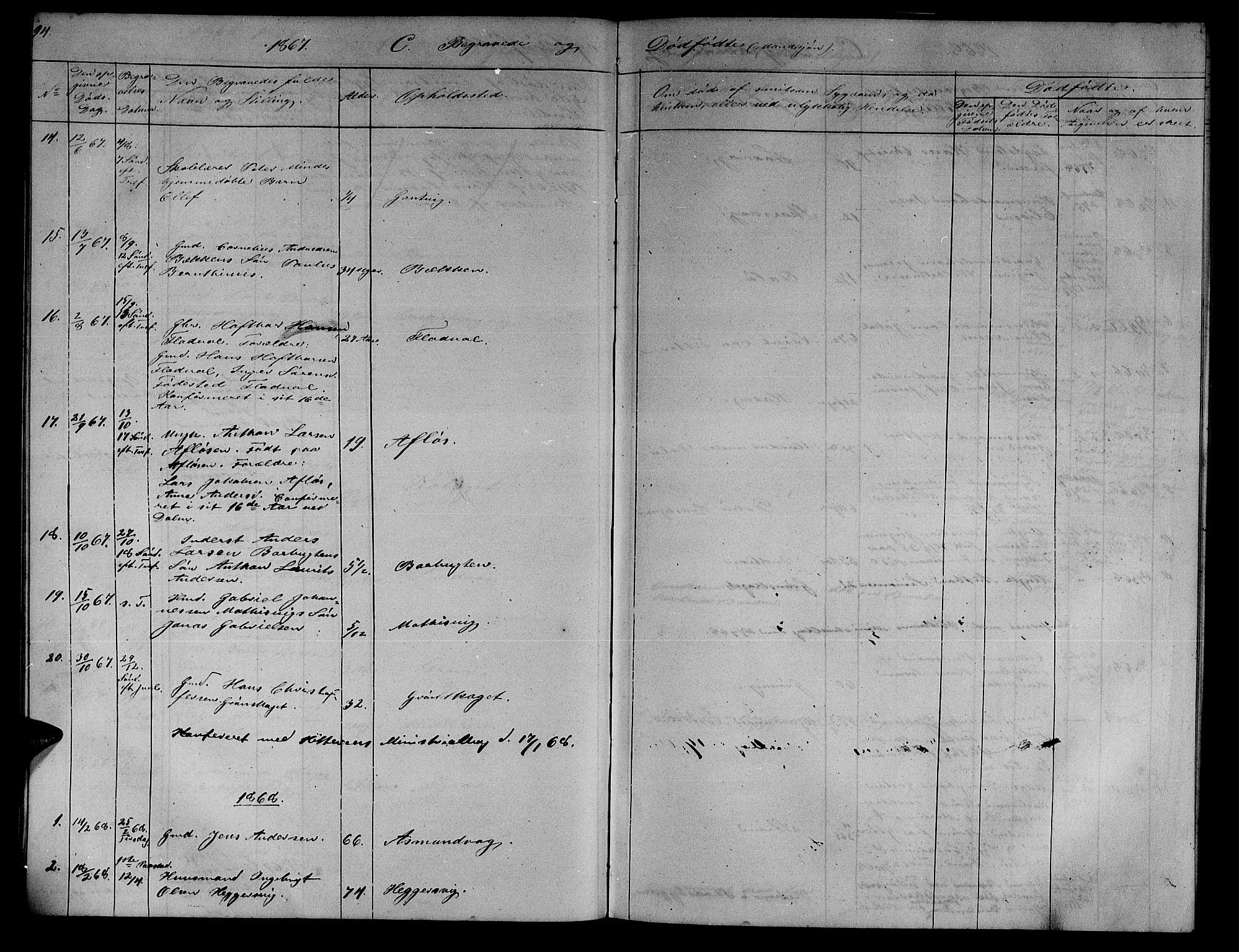 SAT, Ministerialprotokoller, klokkerbøker og fødselsregistre - Sør-Trøndelag, 634/L0539: Klokkerbok nr. 634C01, 1866-1873, s. 94