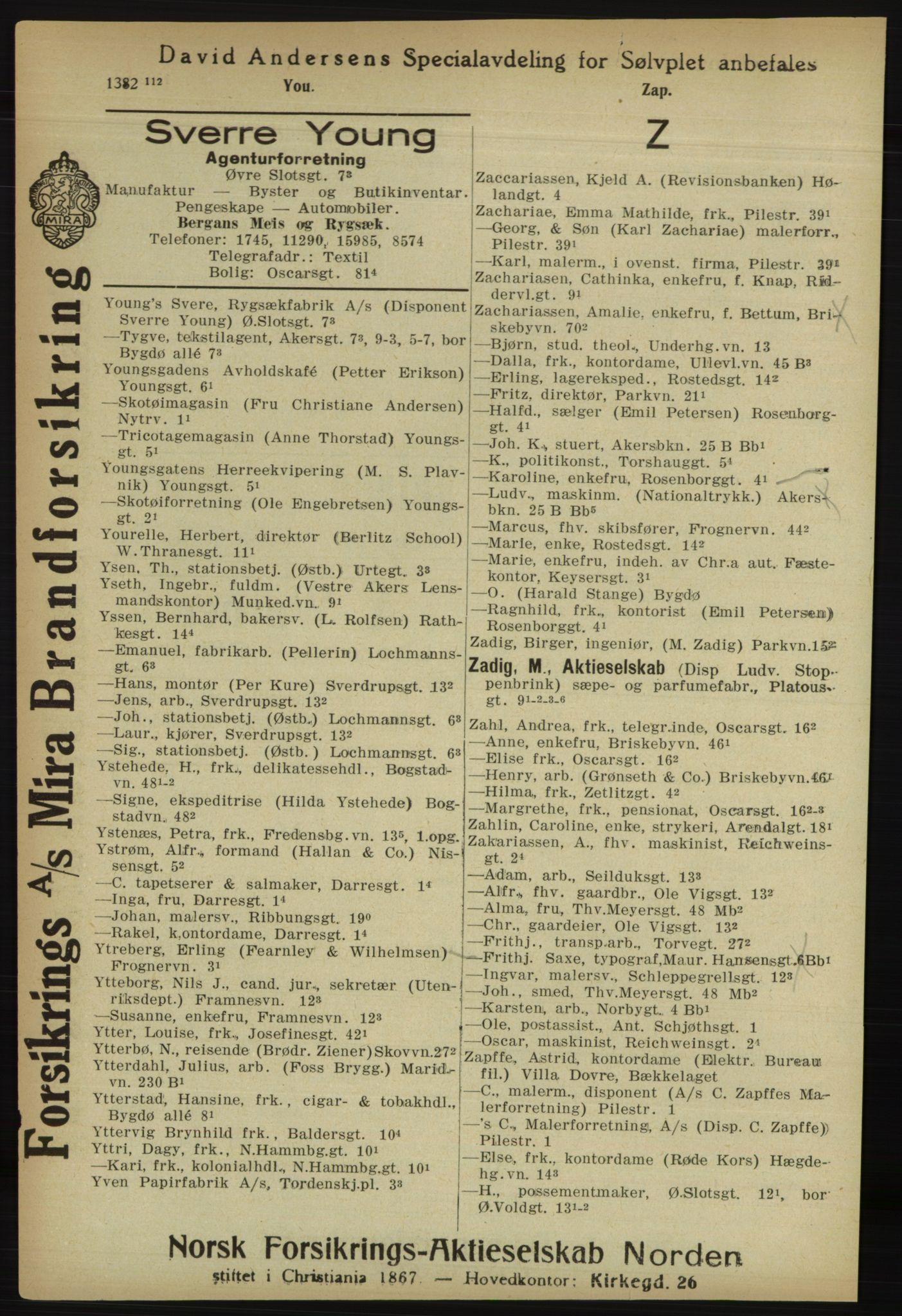 RA, Kristiania adressebok (publikasjon)*, 1918, s. 1485