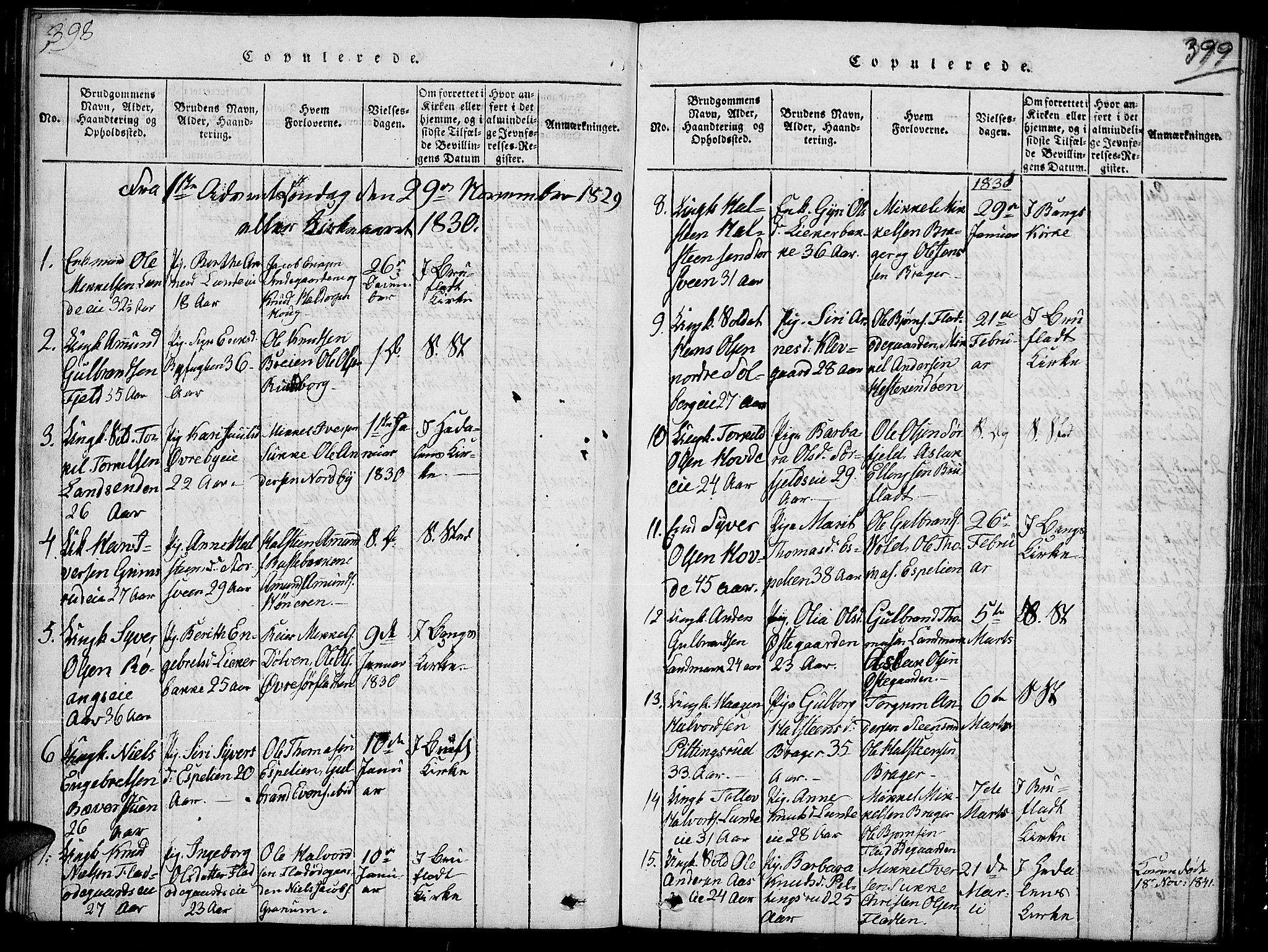 SAH, Sør-Aurdal prestekontor, Klokkerbok nr. 2, 1826-1840, s. 398-399