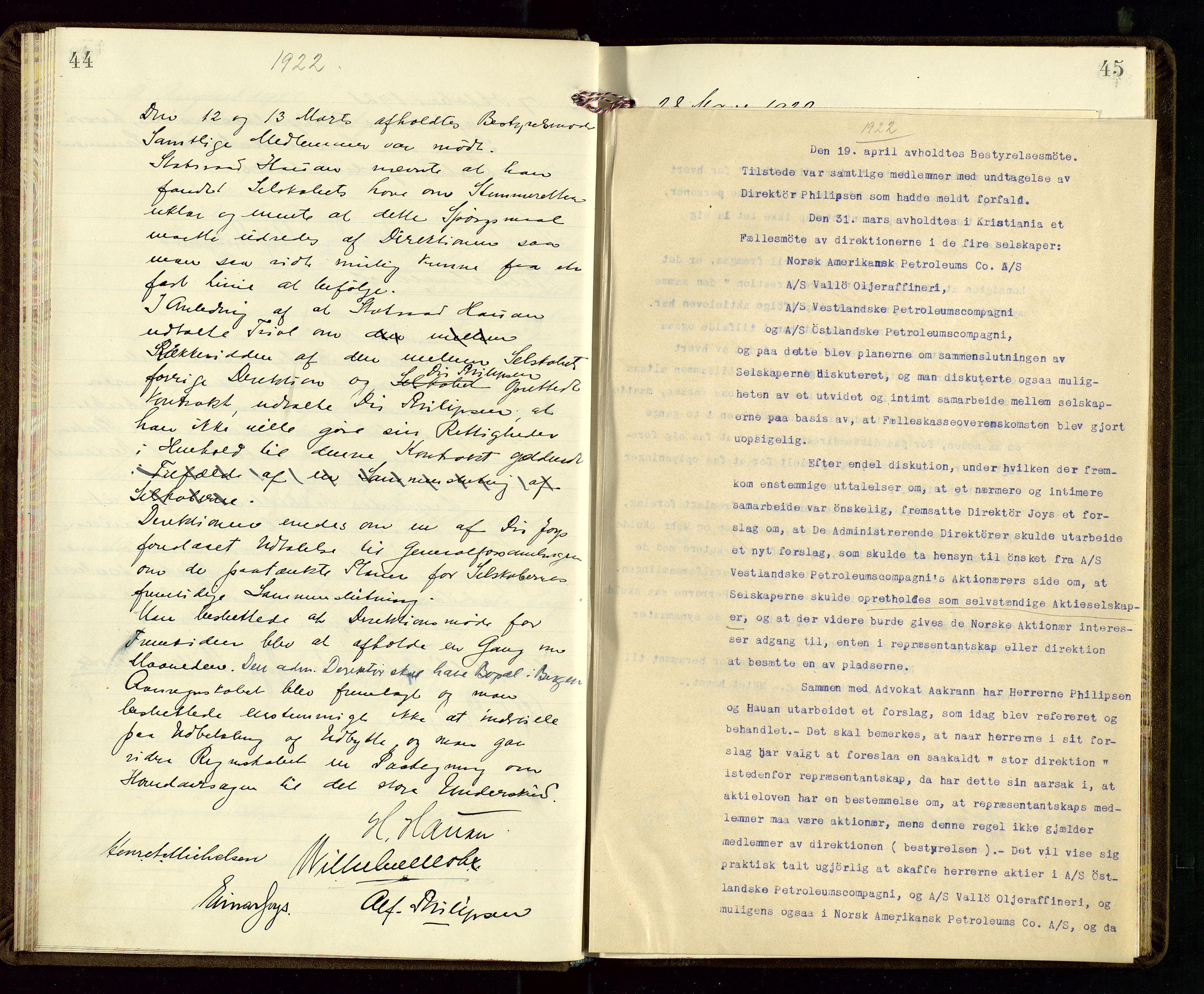 SAST, PA 1533 - A/S Vestlandske Petroleumscompani, A/Aa/L0001: Generalforsamlinger og styreprotokoller, 1915-1922, s. 44-45