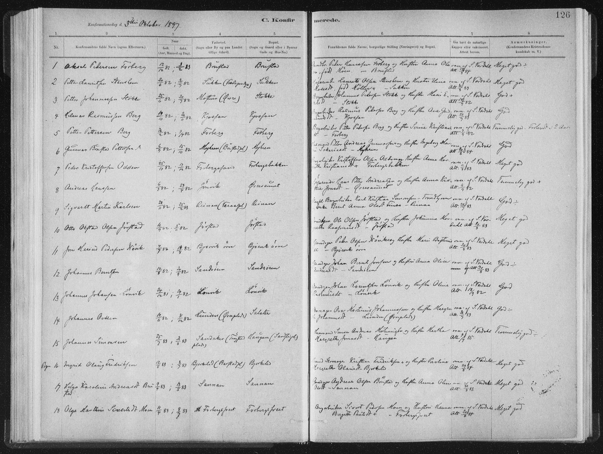SAT, Ministerialprotokoller, klokkerbøker og fødselsregistre - Nord-Trøndelag, 722/L0220: Ministerialbok nr. 722A07, 1881-1908, s. 126