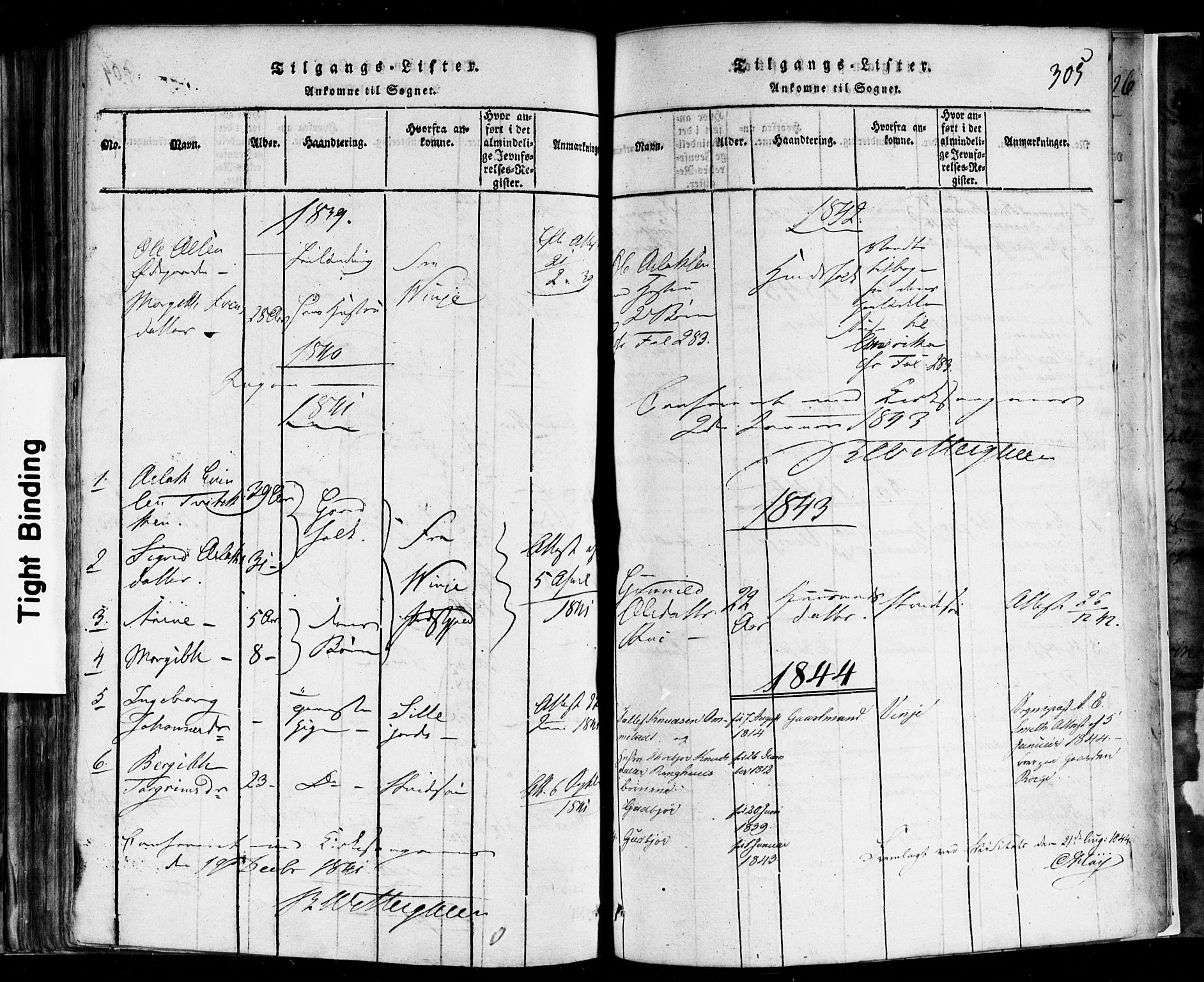 SAKO, Rauland kirkebøker, F/Fa/L0002: Ministerialbok nr. 2, 1815-1860, s. 305