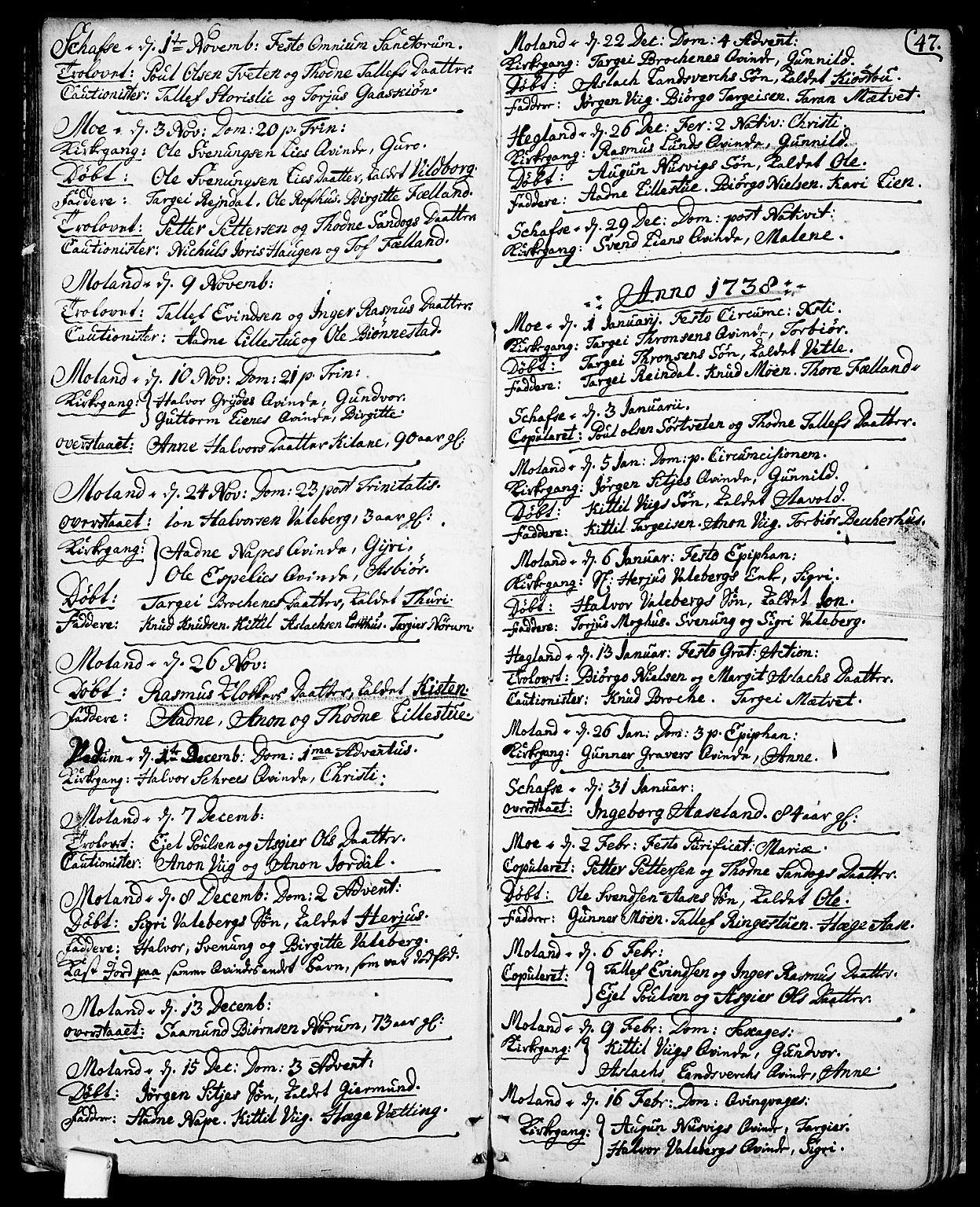 SAKO, Fyresdal kirkebøker, F/Fa/L0001: Ministerialbok nr. I 1, 1724-1748, s. 47
