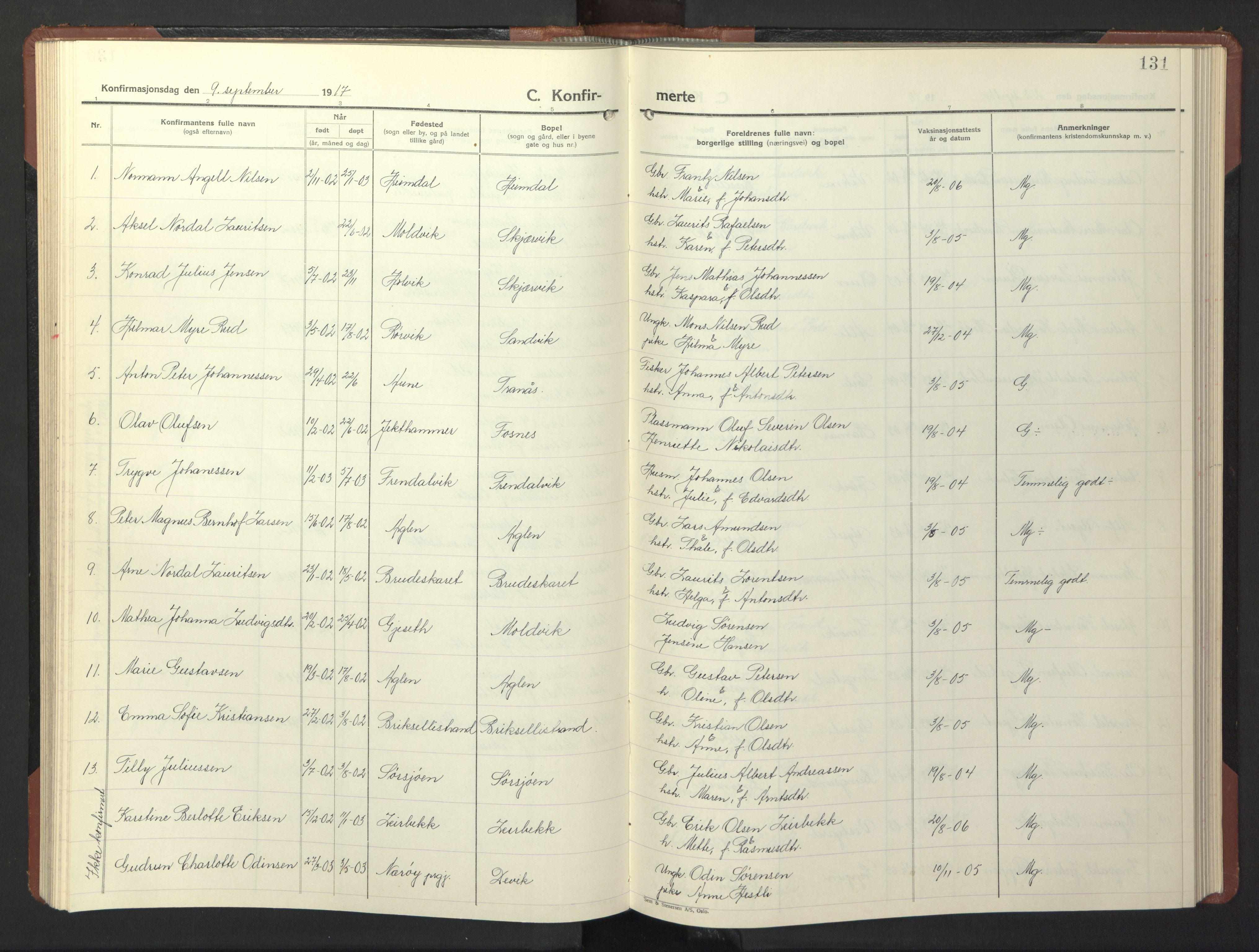 SAT, Ministerialprotokoller, klokkerbøker og fødselsregistre - Nord-Trøndelag, 773/L0625: Klokkerbok nr. 773C01, 1910-1952, s. 131