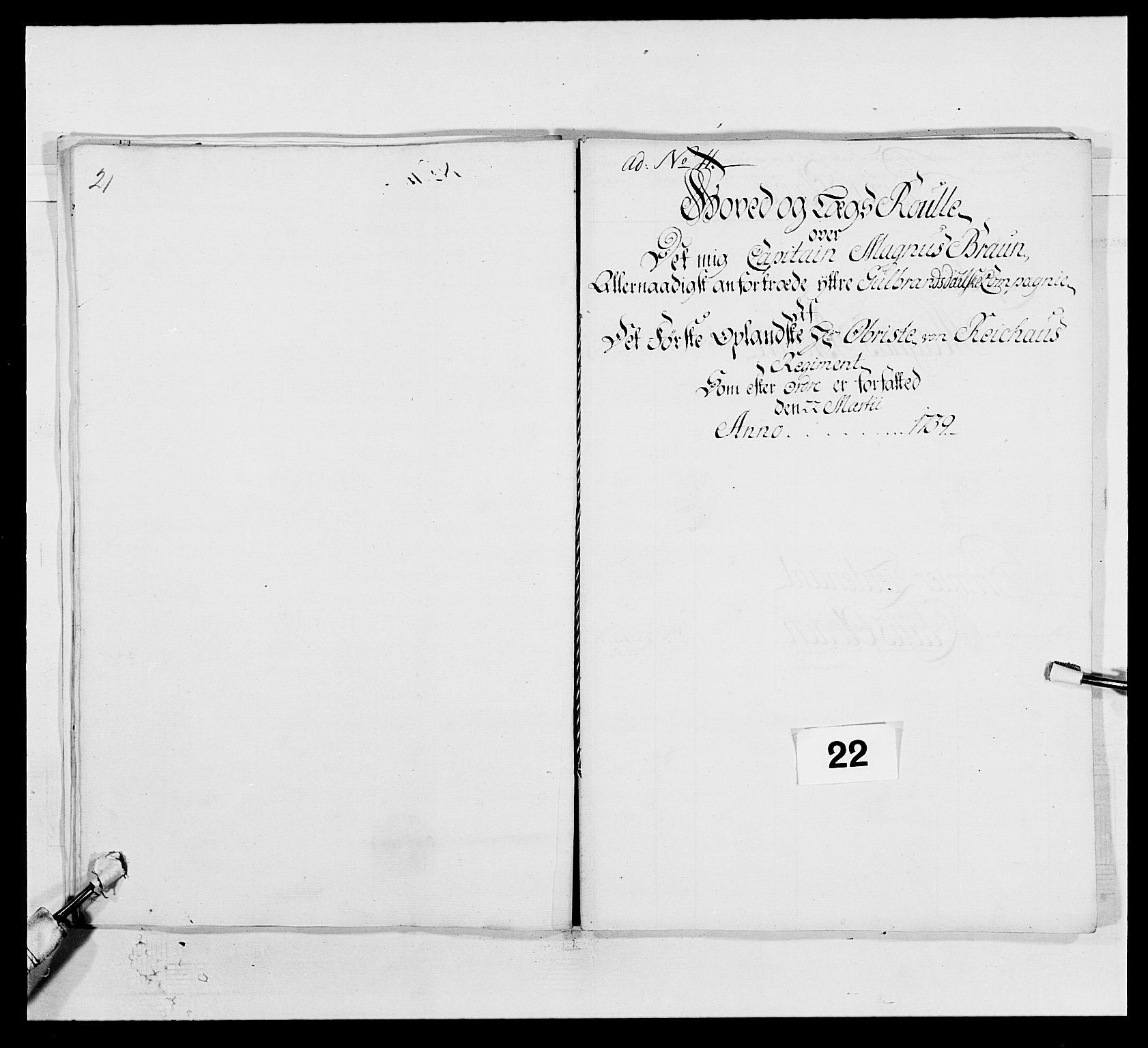 RA, Kommanderende general (KG I) med Det norske krigsdirektorium, E/Ea/L0502: 1. Opplandske regiment, 1720-1743, s. 208