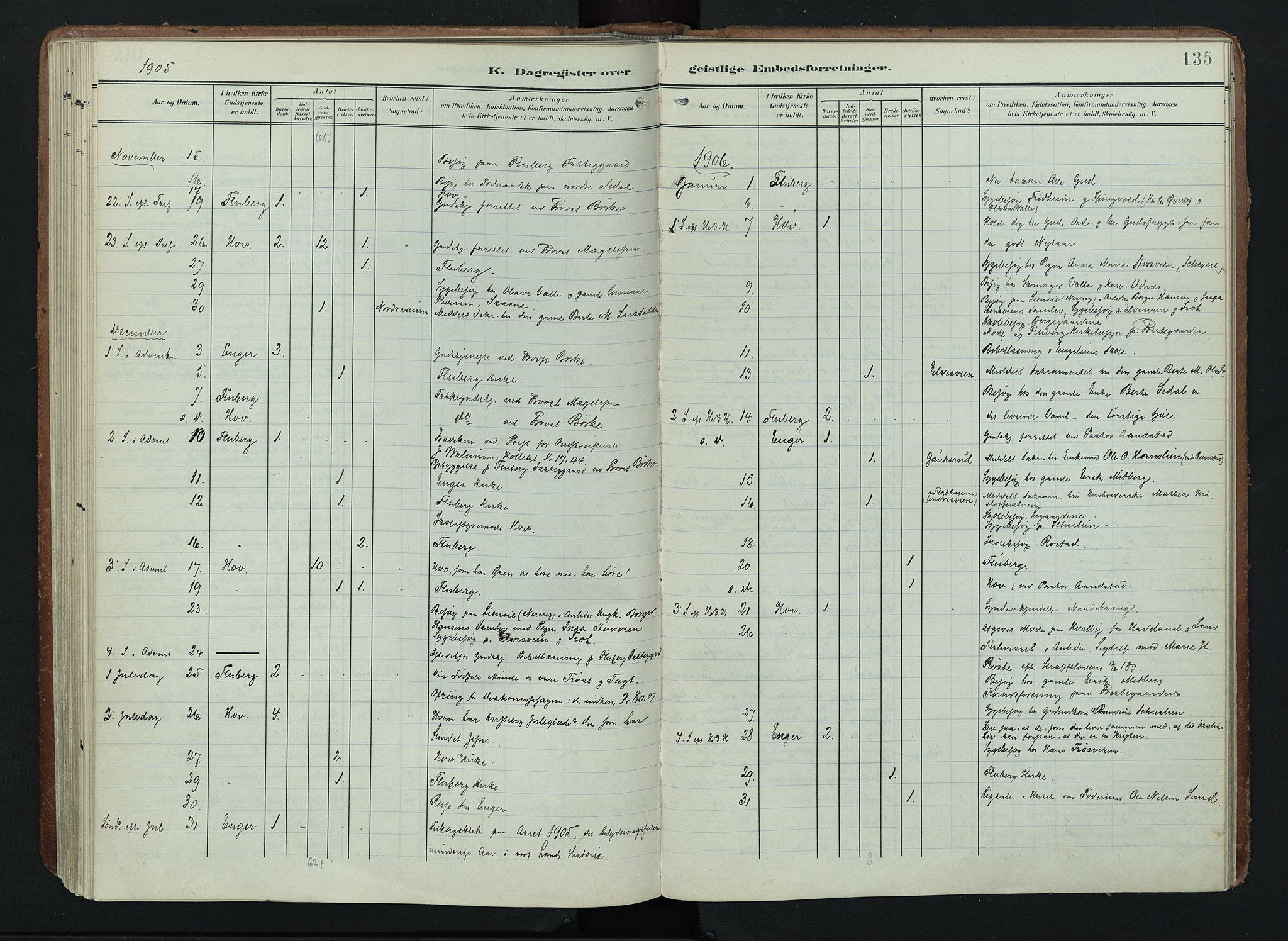 SAH, Søndre Land prestekontor, K/L0005: Ministerialbok nr. 5, 1905-1914, s. 135