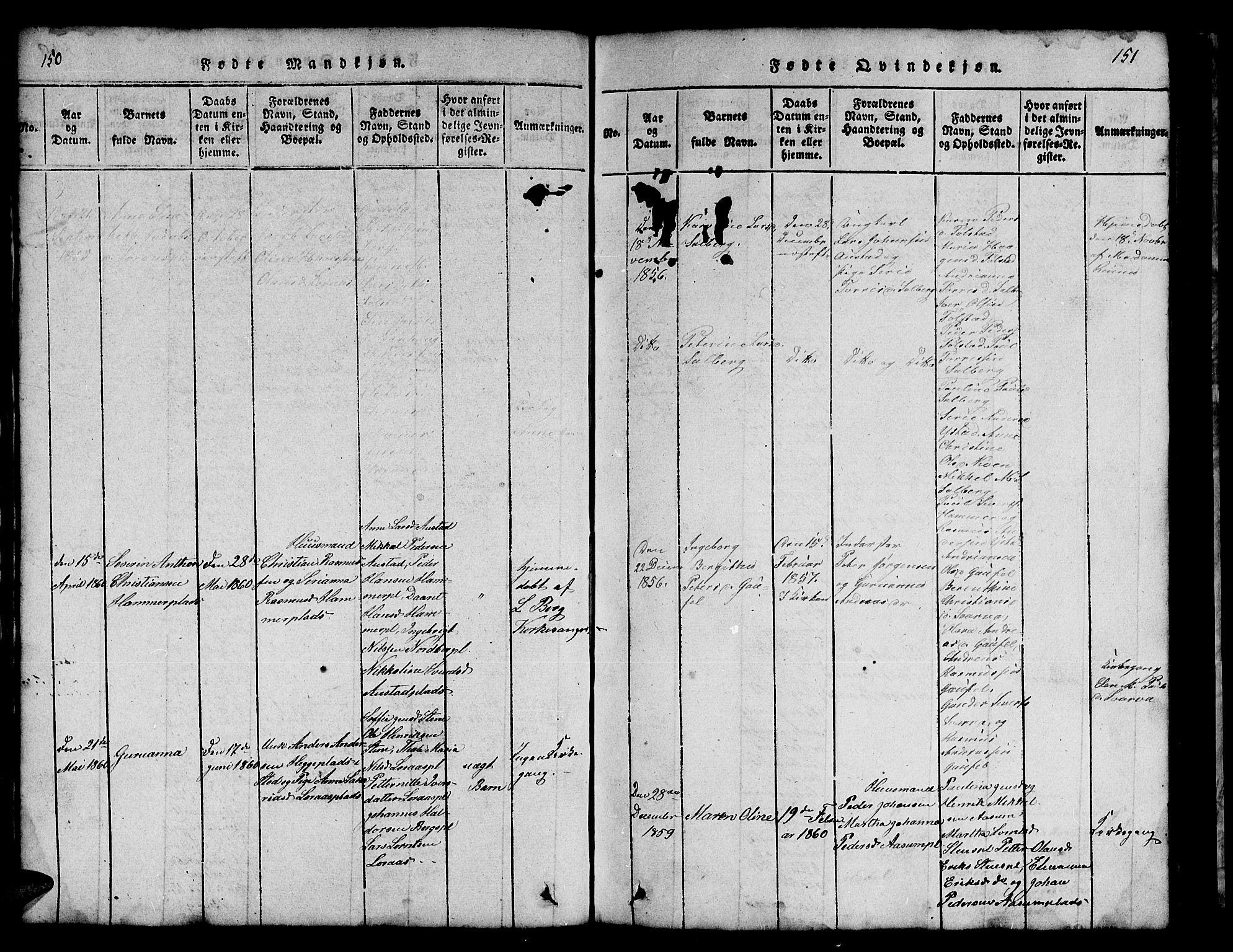 SAT, Ministerialprotokoller, klokkerbøker og fødselsregistre - Nord-Trøndelag, 731/L0310: Klokkerbok nr. 731C01, 1816-1874, s. 150-151