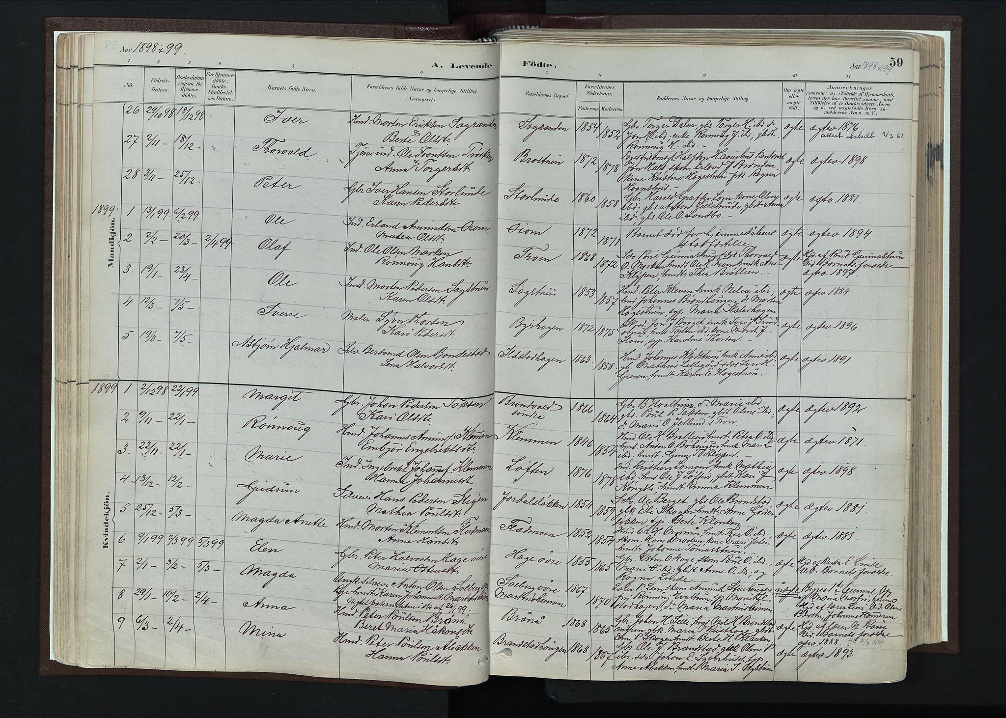 SAH, Nord-Fron prestekontor, Ministerialbok nr. 4, 1884-1914, s. 59