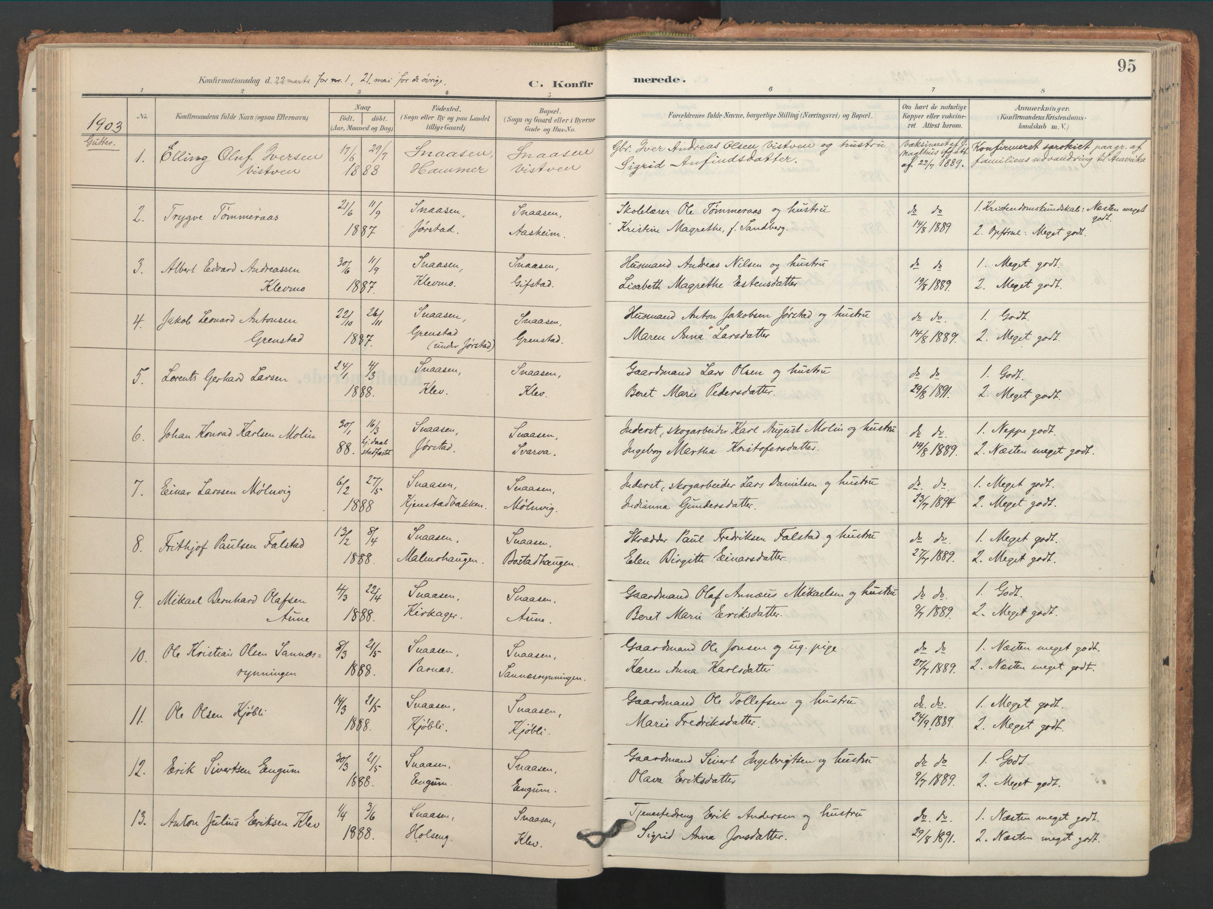 SAT, Ministerialprotokoller, klokkerbøker og fødselsregistre - Nord-Trøndelag, 749/L0477: Ministerialbok nr. 749A11, 1902-1927, s. 95
