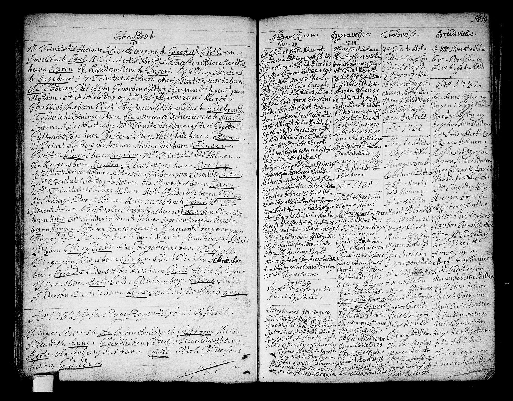 SAKO, Sigdal kirkebøker, F/Fa/L0001: Ministerialbok nr. I 1, 1722-1777, s. 19