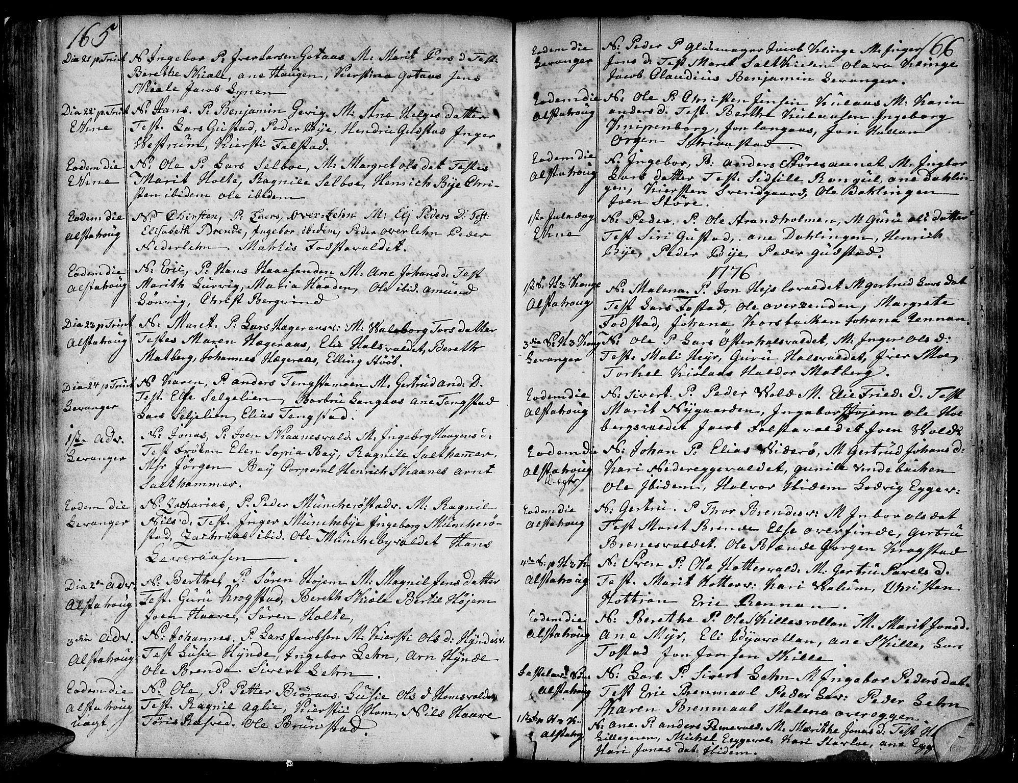 SAT, Ministerialprotokoller, klokkerbøker og fødselsregistre - Nord-Trøndelag, 717/L0141: Ministerialbok nr. 717A01, 1747-1803, s. 165-166