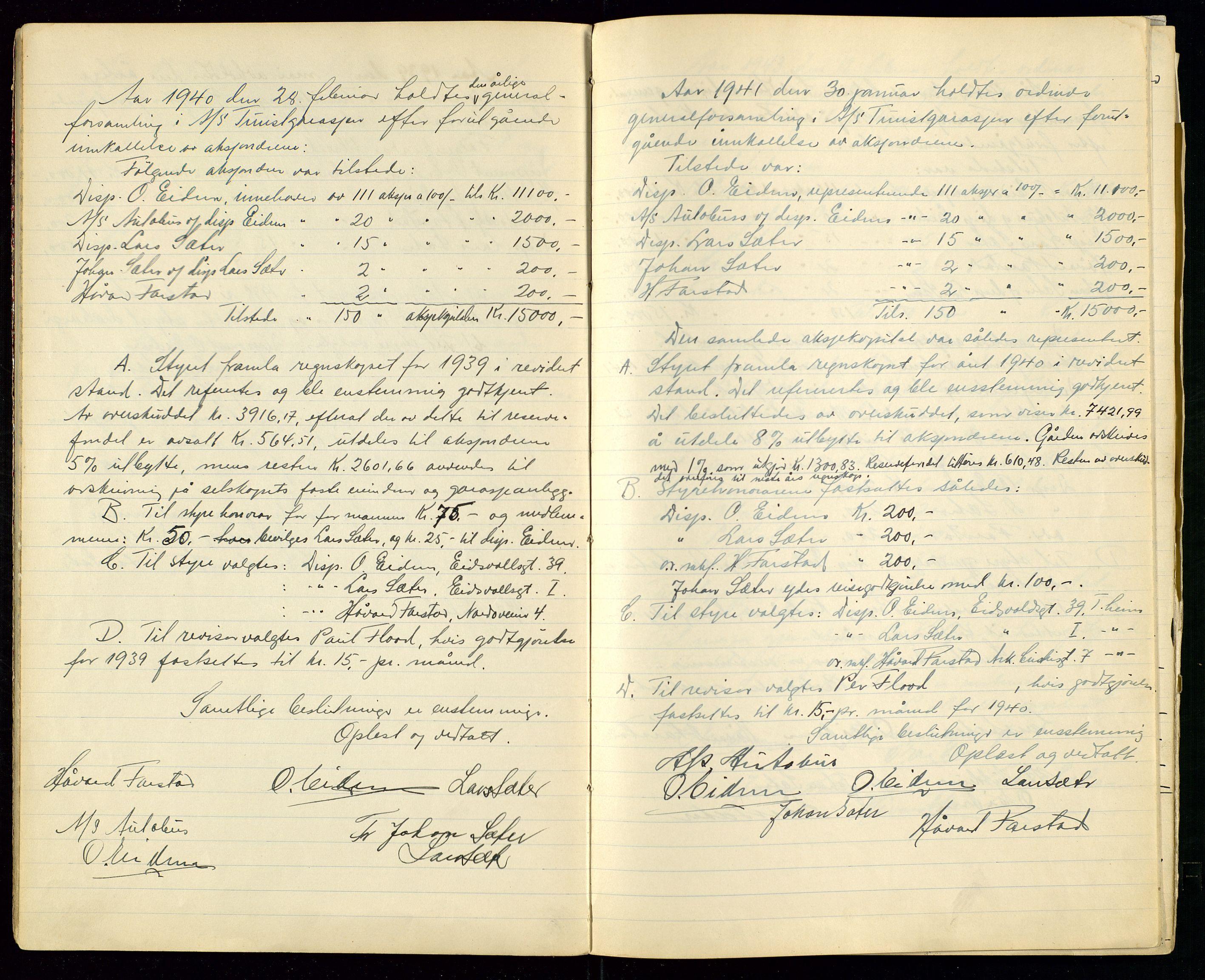 SAST, PA 1515 - Turistgarasjen A/S, A/L0001: Forhandlingsprotokoll, 1937-1958, s. 8