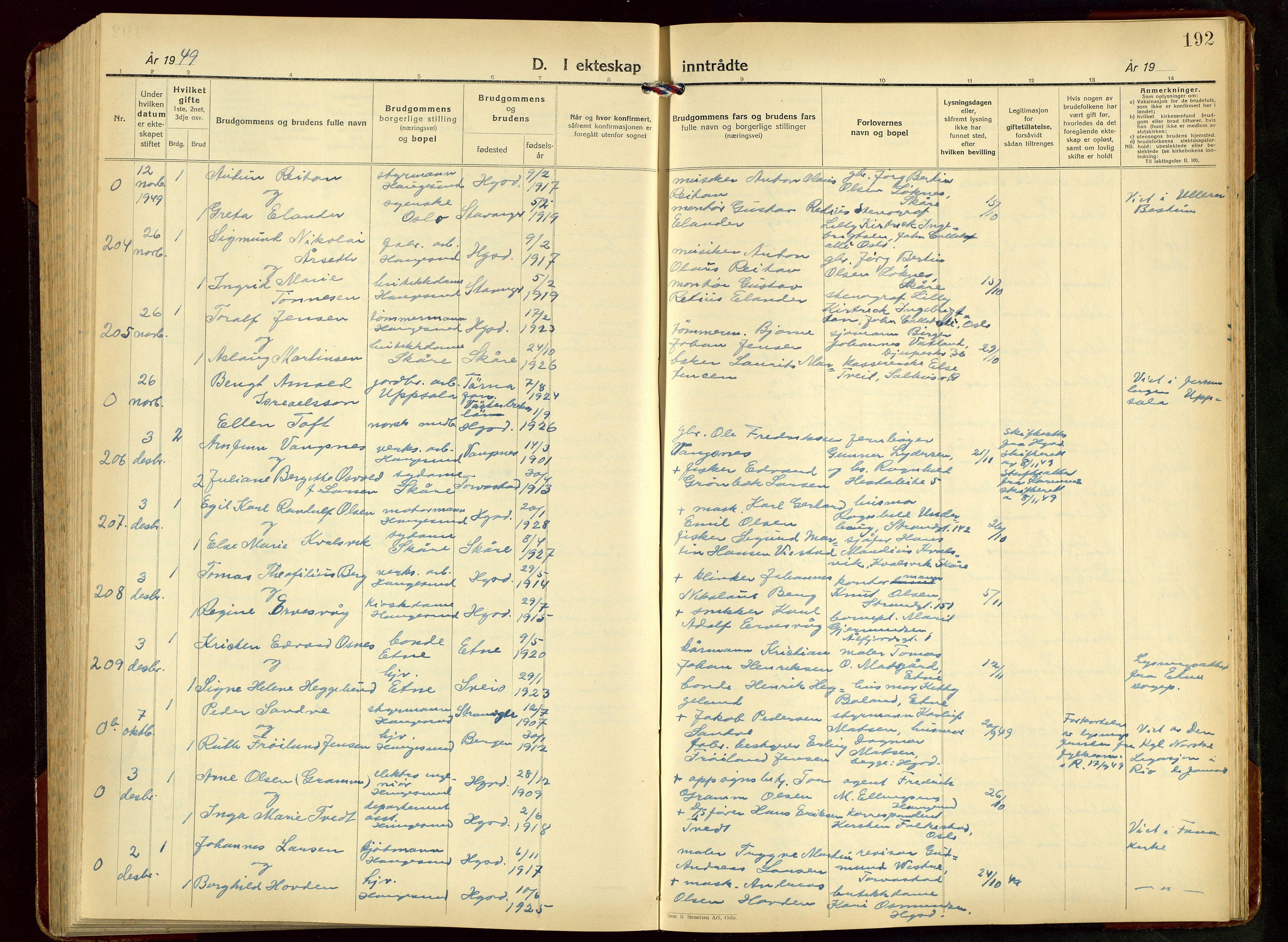 SAST, Haugesund sokneprestkontor, H/Ha/Hab/L0014: Klokkerbok nr. B 14, 1940-1952, s. 192