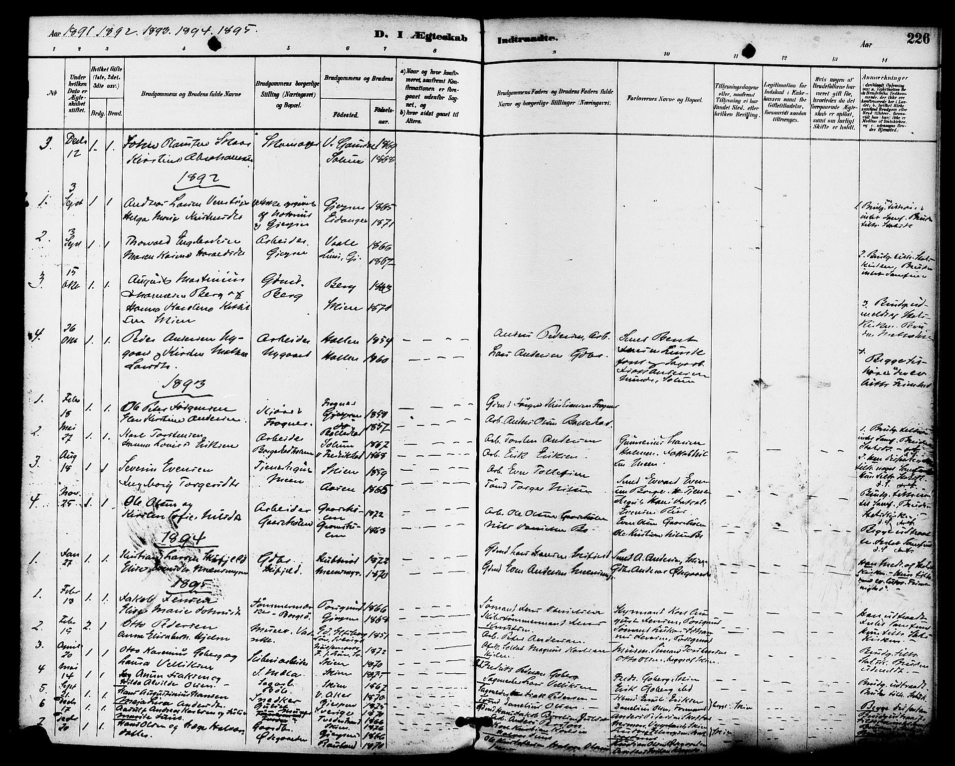 SAKO, Gjerpen kirkebøker, F/Fa/L0010: Ministerialbok nr. 10, 1886-1895, s. 226