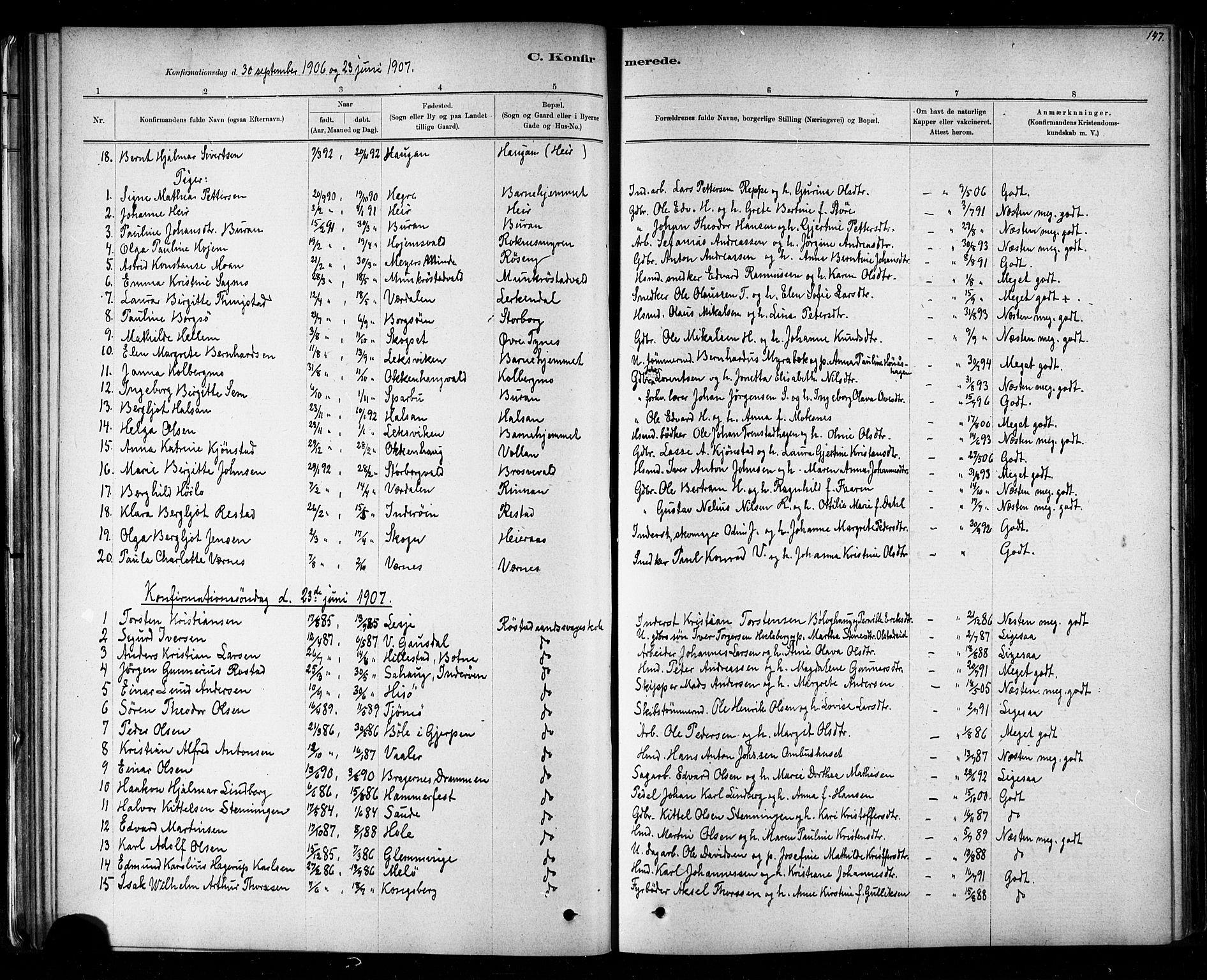 SAT, Ministerialprotokoller, klokkerbøker og fødselsregistre - Nord-Trøndelag, 721/L0208: Klokkerbok nr. 721C01, 1880-1917, s. 147
