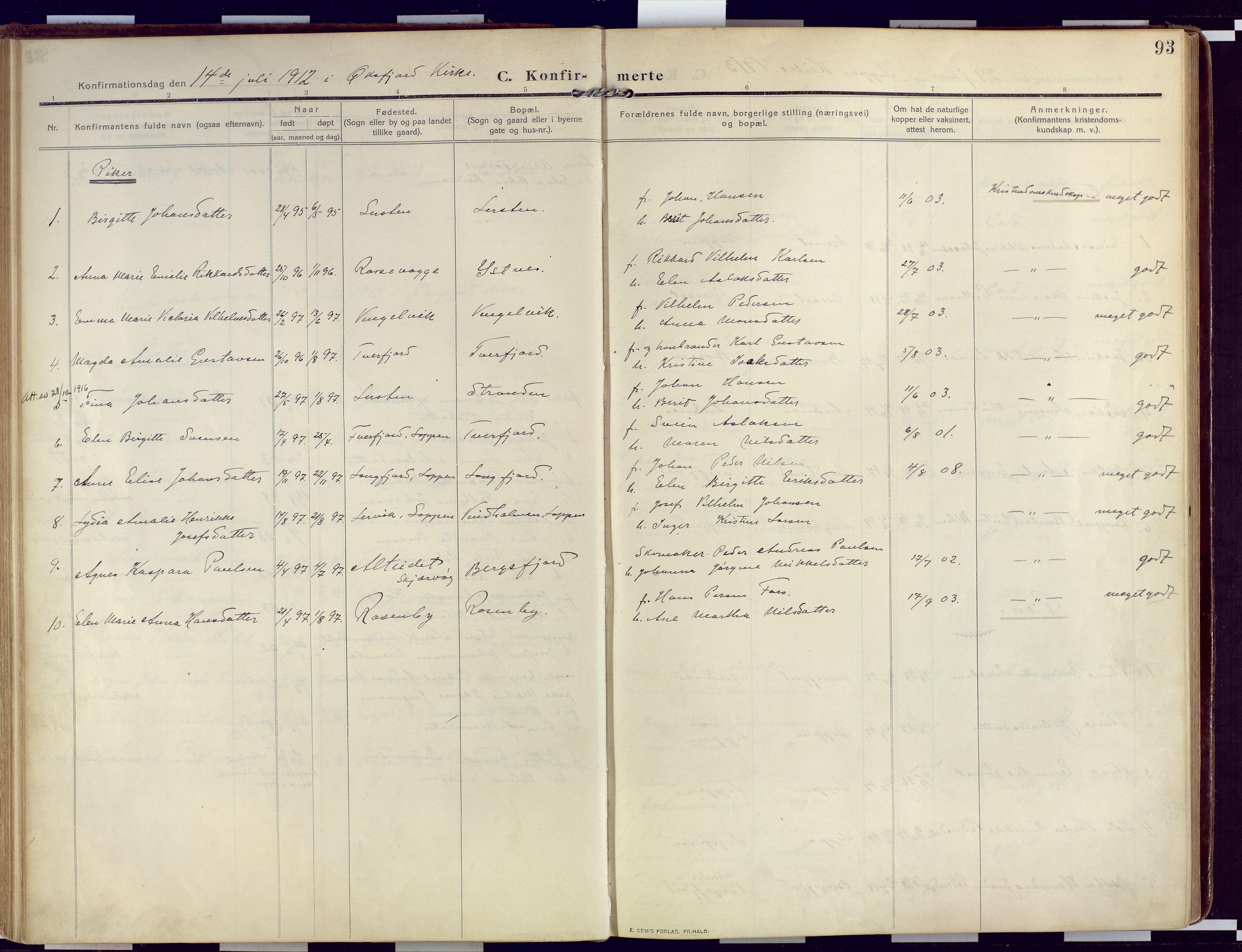 SATØ, Loppa sokneprestkontor, H/Ha/L0011kirke: Ministerialbok nr. 11, 1909-1919, s. 93