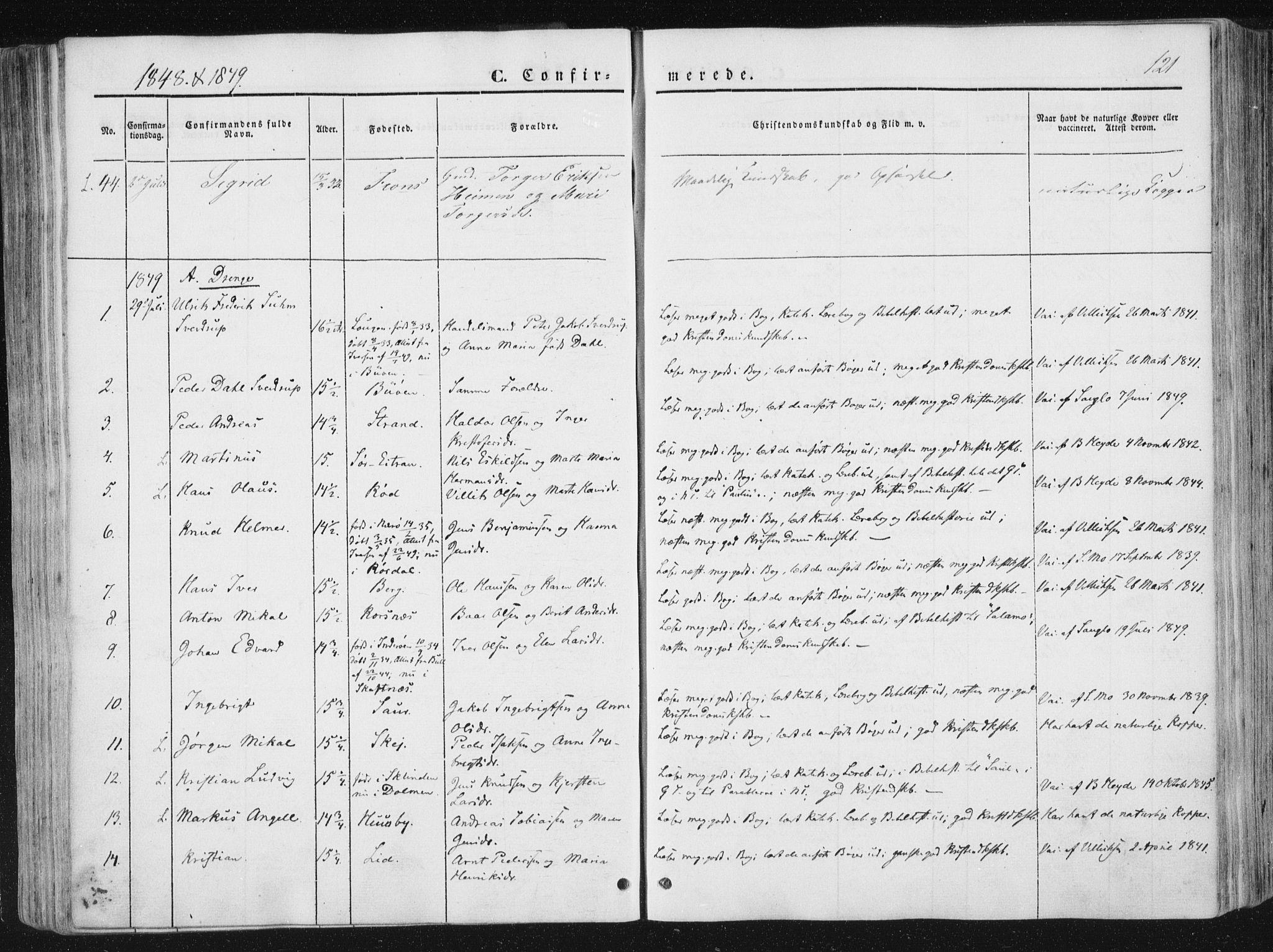 SAT, Ministerialprotokoller, klokkerbøker og fødselsregistre - Nord-Trøndelag, 780/L0640: Ministerialbok nr. 780A05, 1845-1856, s. 121