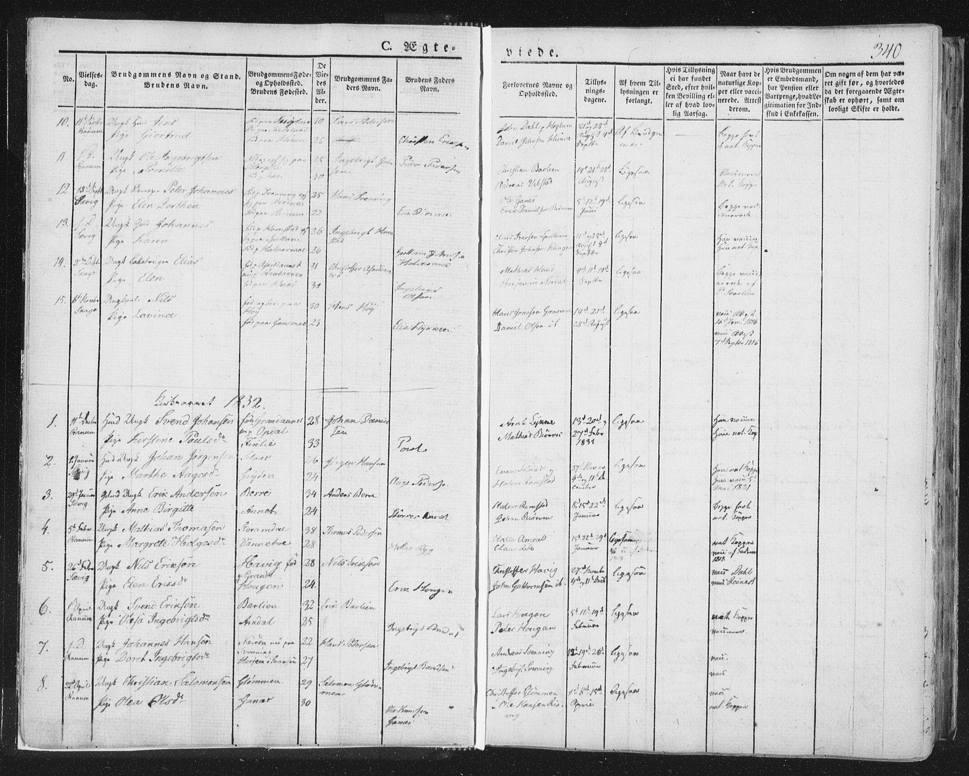 SAT, Ministerialprotokoller, klokkerbøker og fødselsregistre - Nord-Trøndelag, 764/L0552: Ministerialbok nr. 764A07b, 1824-1865, s. 340
