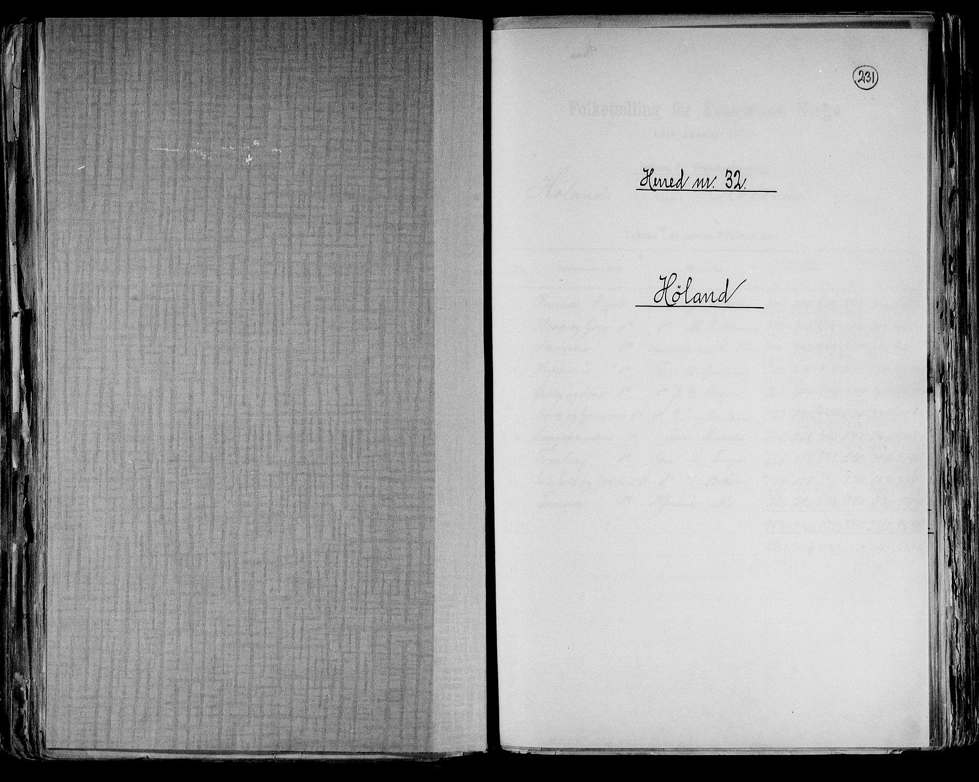 RA, Folketelling 1891 for 0221 Høland herred, 1891, s. 1
