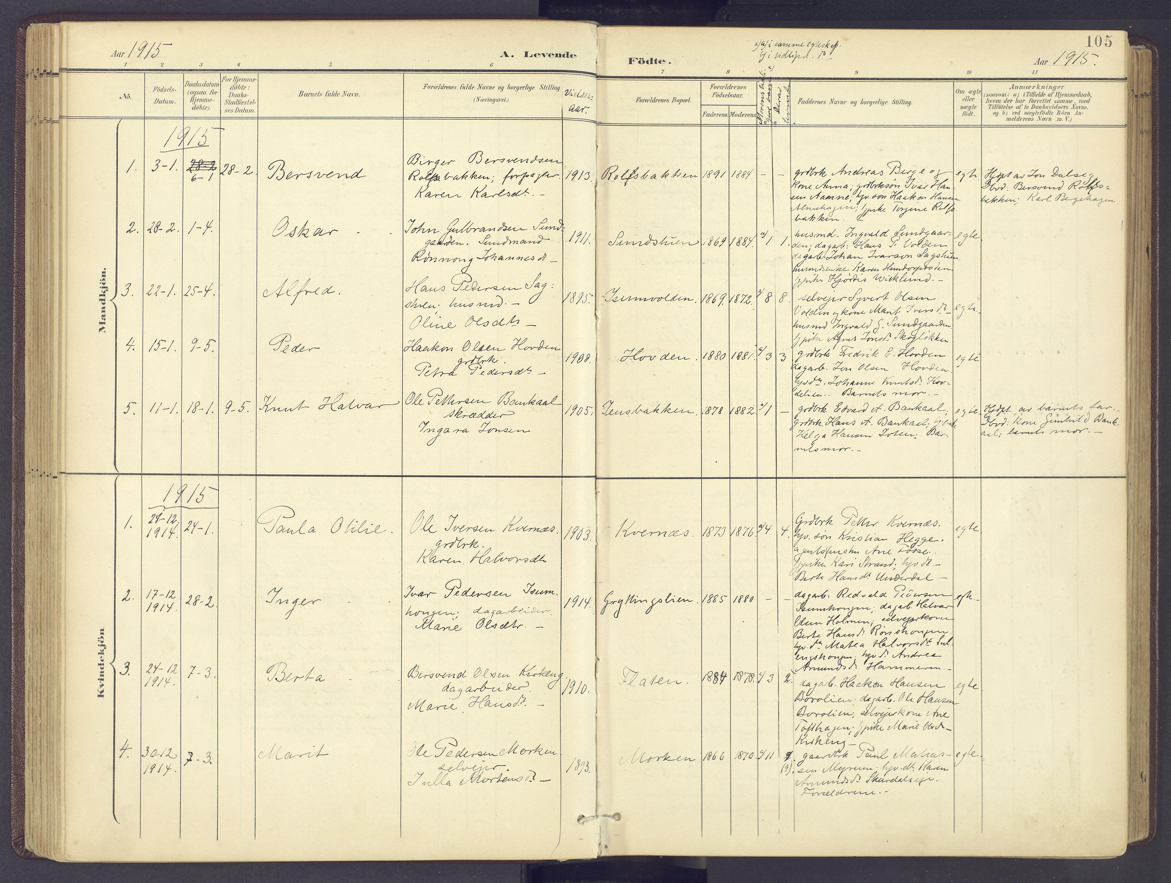 SAH, Sør-Fron prestekontor, H/Ha/Haa/L0004: Ministerialbok nr. 4, 1898-1919, s. 105