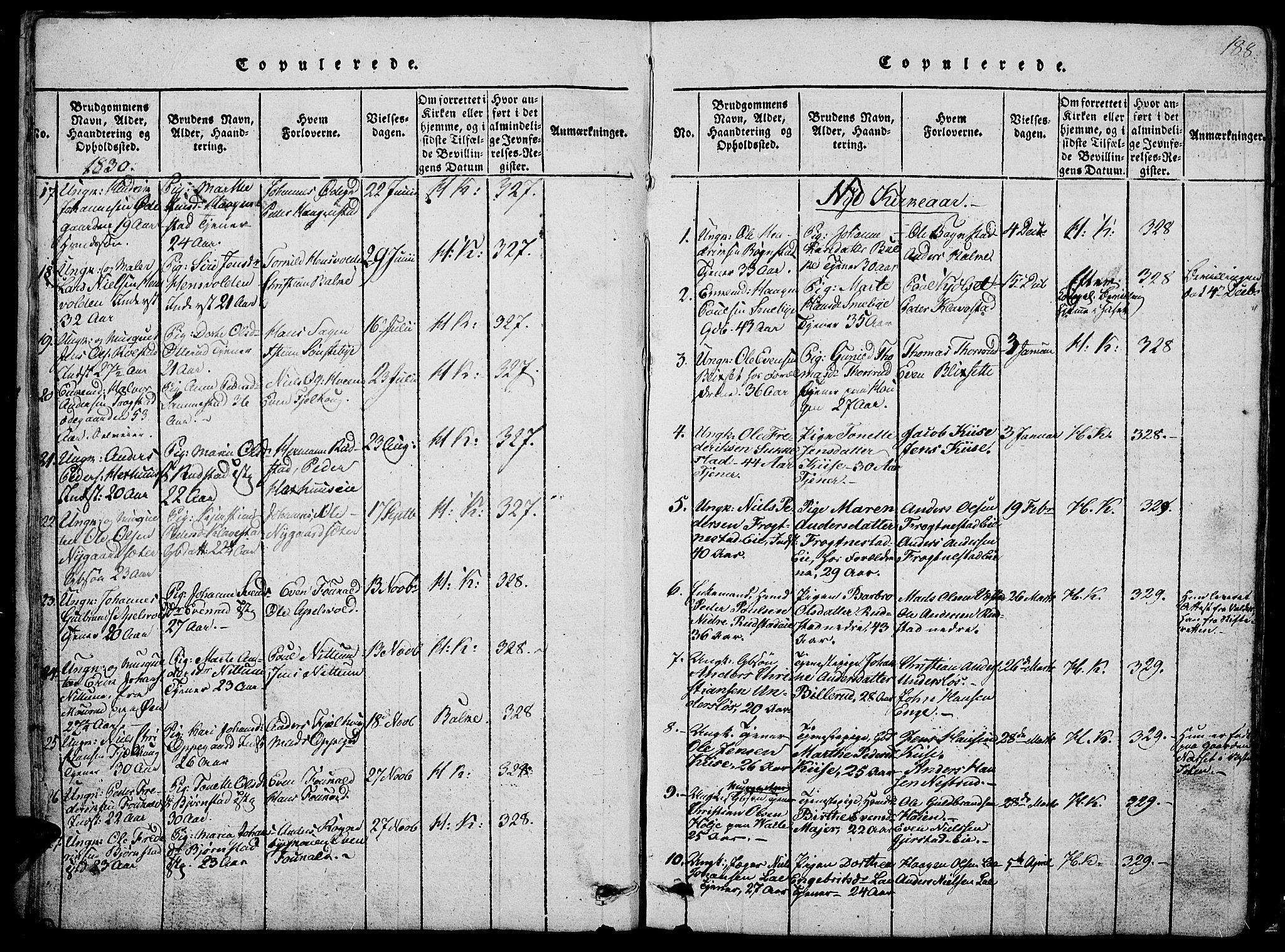 SAH, Østre Toten prestekontor, Klokkerbok nr. 1, 1827-1839, s. 188