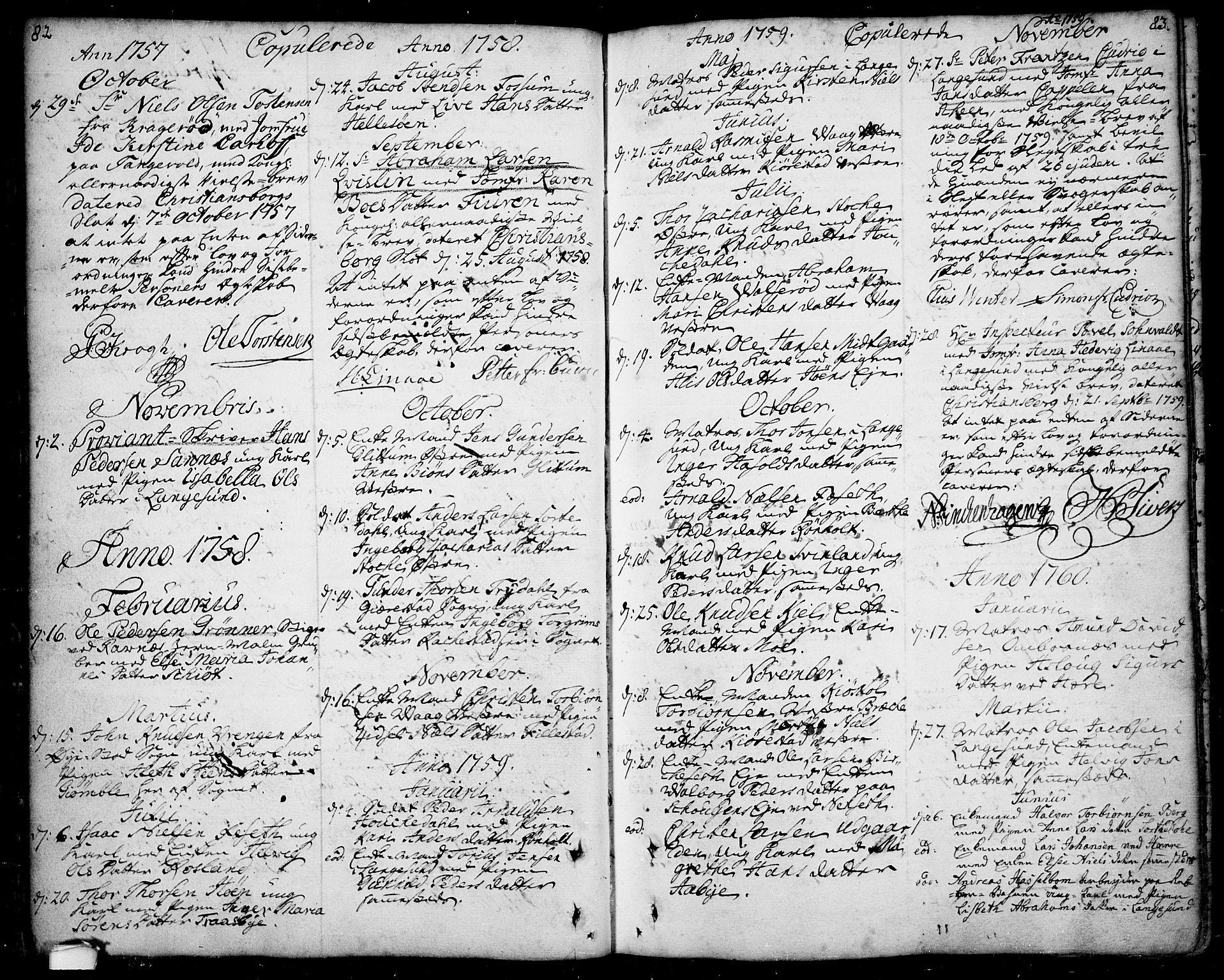 SAKO, Bamble kirkebøker, F/Fa/L0001: Ministerialbok nr. I 1, 1702-1774, s. 82-83