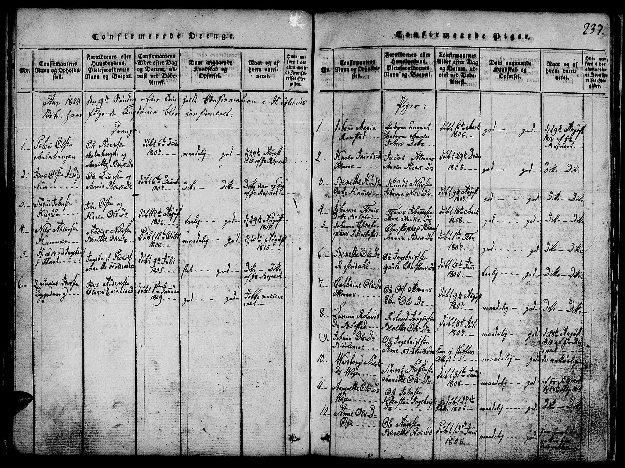 SAT, Ministerialprotokoller, klokkerbøker og fødselsregistre - Nord-Trøndelag, 765/L0562: Klokkerbok nr. 765C01, 1817-1851, s. 237