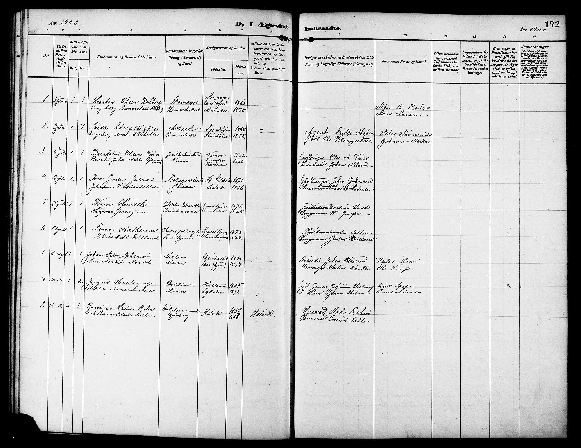 SAT, Ministerialprotokoller, klokkerbøker og fødselsregistre - Sør-Trøndelag, 617/L0431: Klokkerbok nr. 617C01, 1889-1910, s. 172