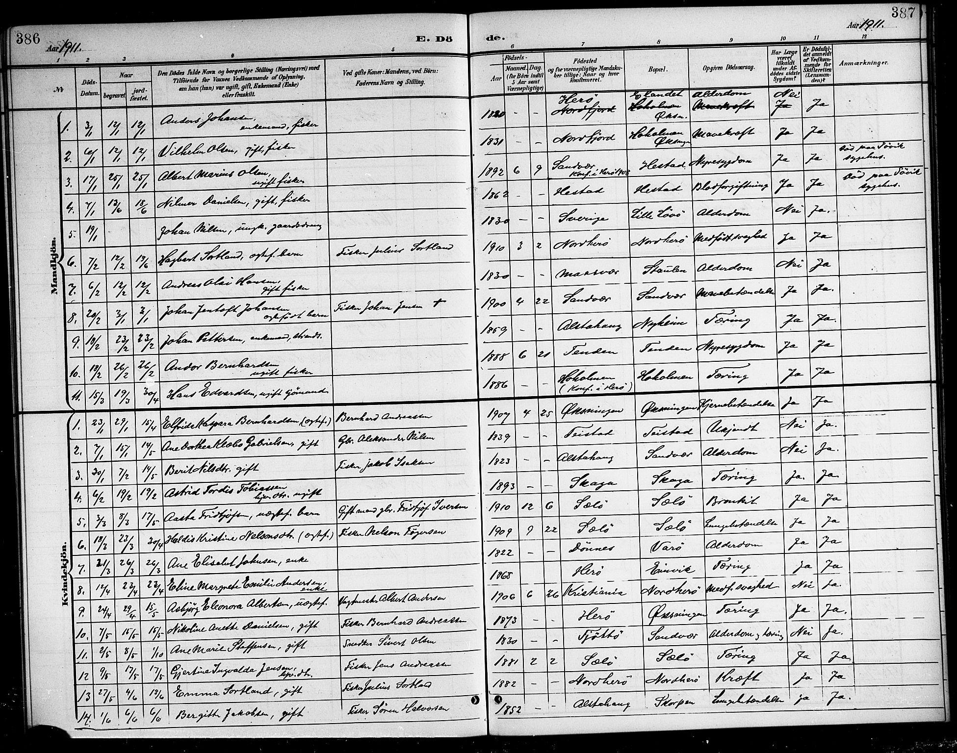 SAT, Ministerialprotokoller, klokkerbøker og fødselsregistre - Nordland, 834/L0516: Klokkerbok nr. 834C06, 1902-1918, s. 386-387