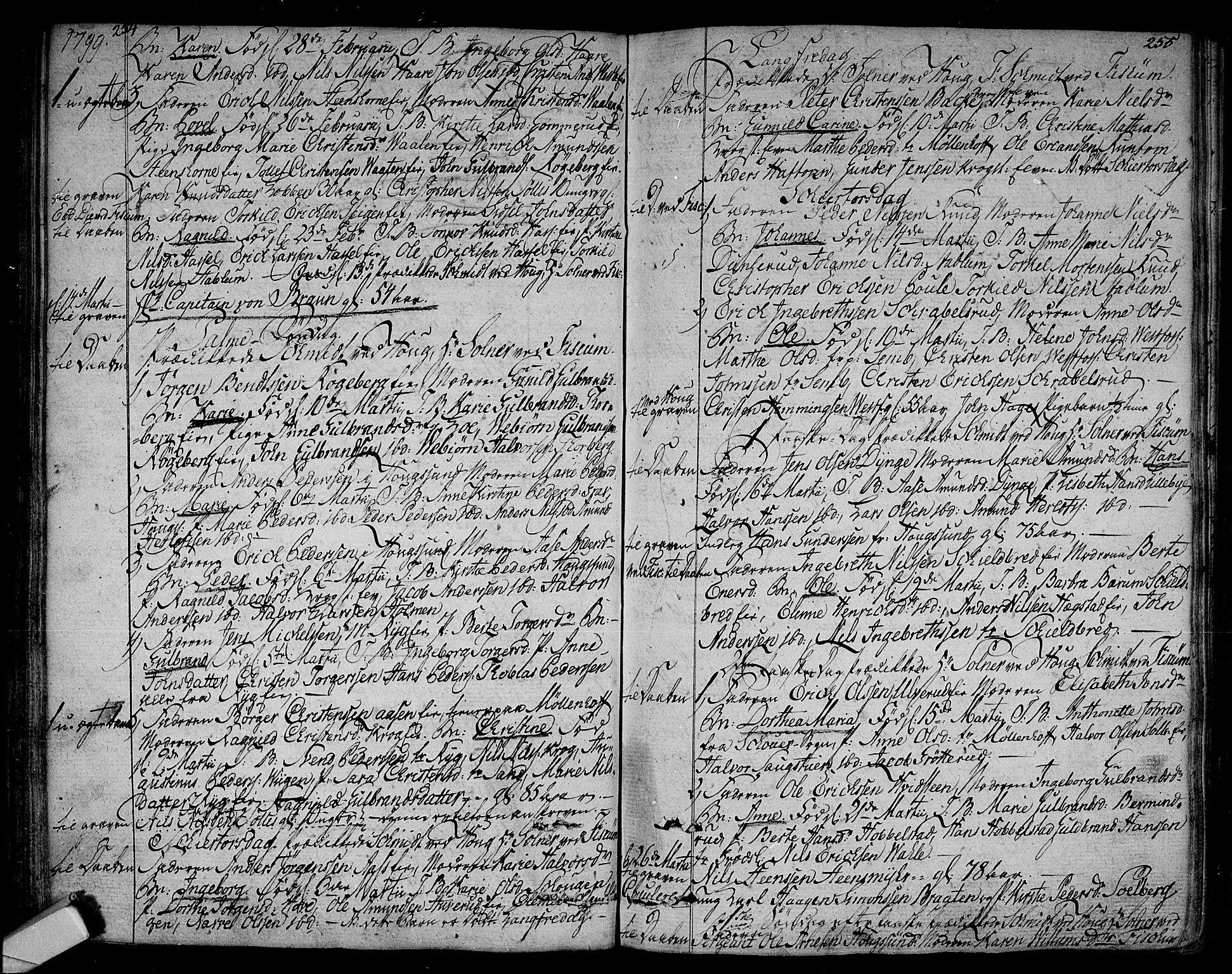 SAKO, Eiker kirkebøker, F/Fa/L0009: Ministerialbok nr. I 9, 1789-1806, s. 254-255