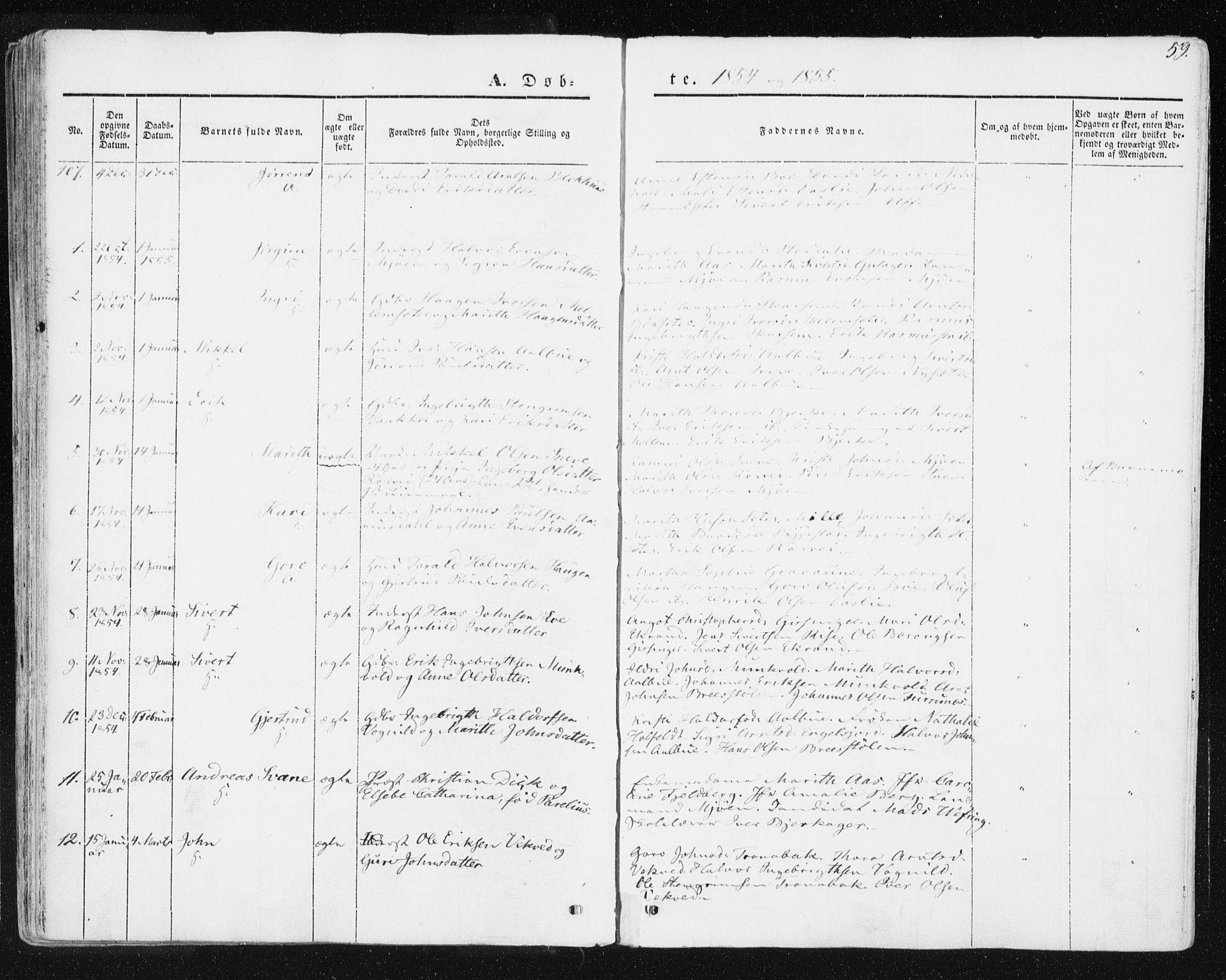 SAT, Ministerialprotokoller, klokkerbøker og fødselsregistre - Sør-Trøndelag, 678/L0899: Ministerialbok nr. 678A08, 1848-1872, s. 59