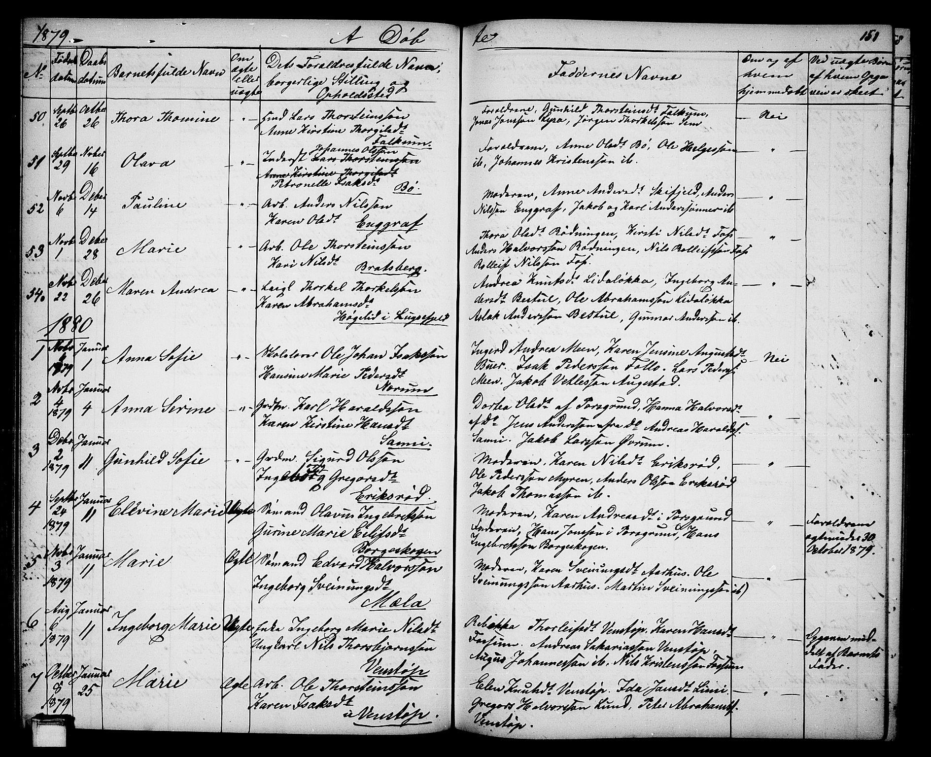 SAKO, Gjerpen kirkebøker, G/Ga/L0001: Klokkerbok nr. I 1, 1864-1882, s. 151