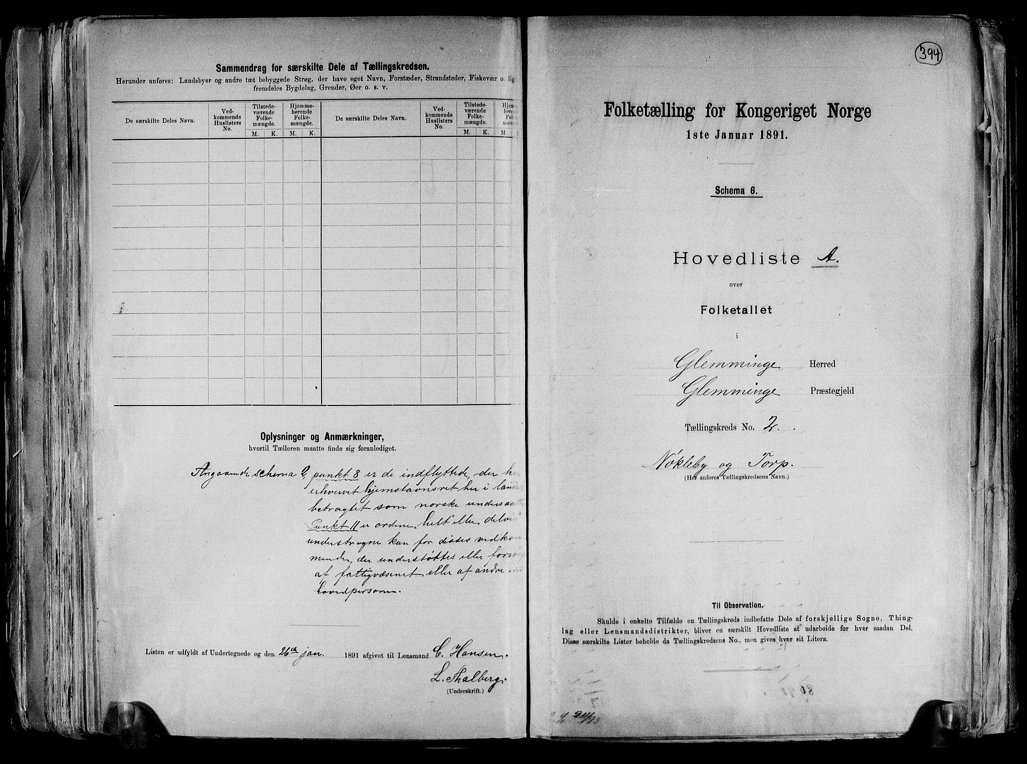 RA, Folketelling 1891 for 0132 Glemmen herred, 1891, s. 6