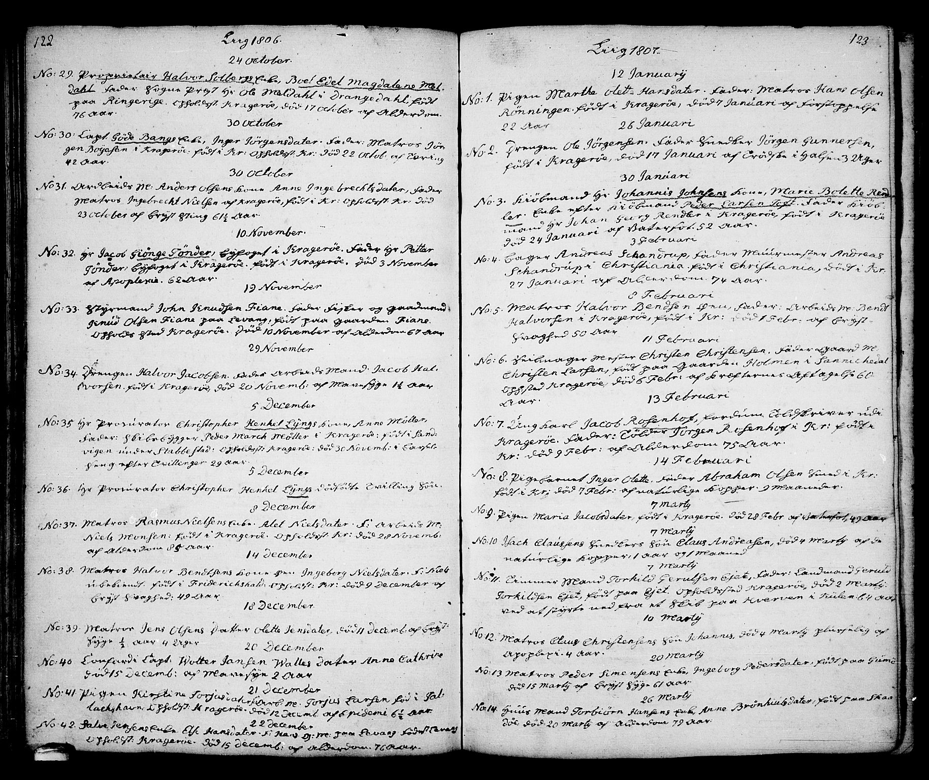 SAKO, Kragerø kirkebøker, G/Ga/L0001: Klokkerbok nr. 1 /1, 1806-1811, s. 122-123