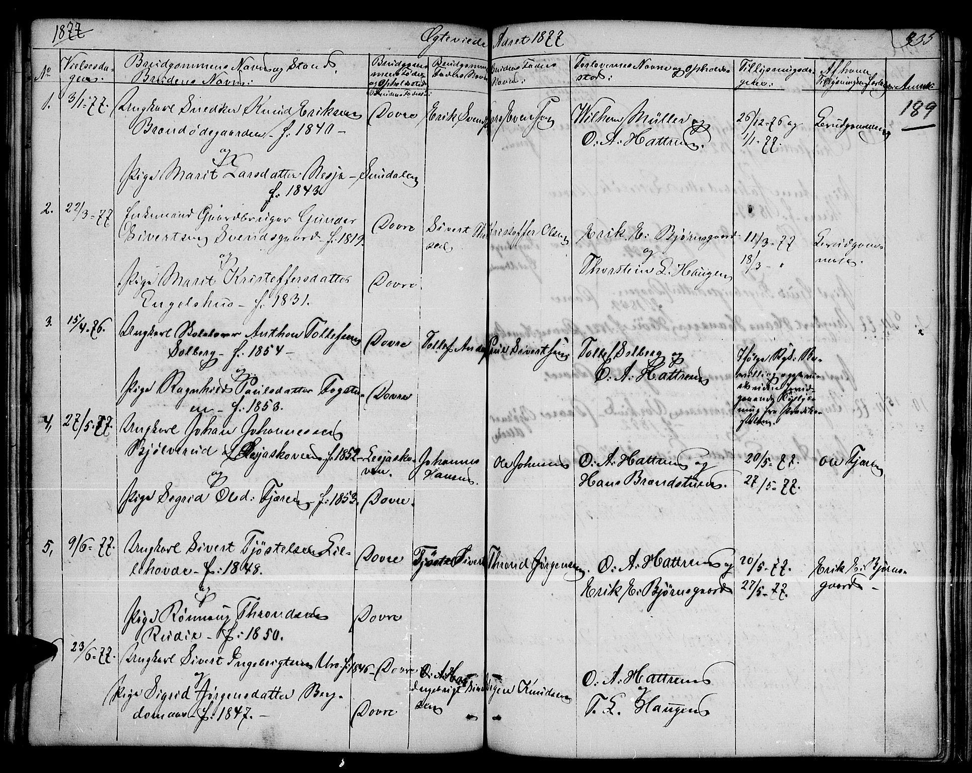 SAH, Dovre prestekontor, Klokkerbok nr. 1, 1862-1880, s. 335