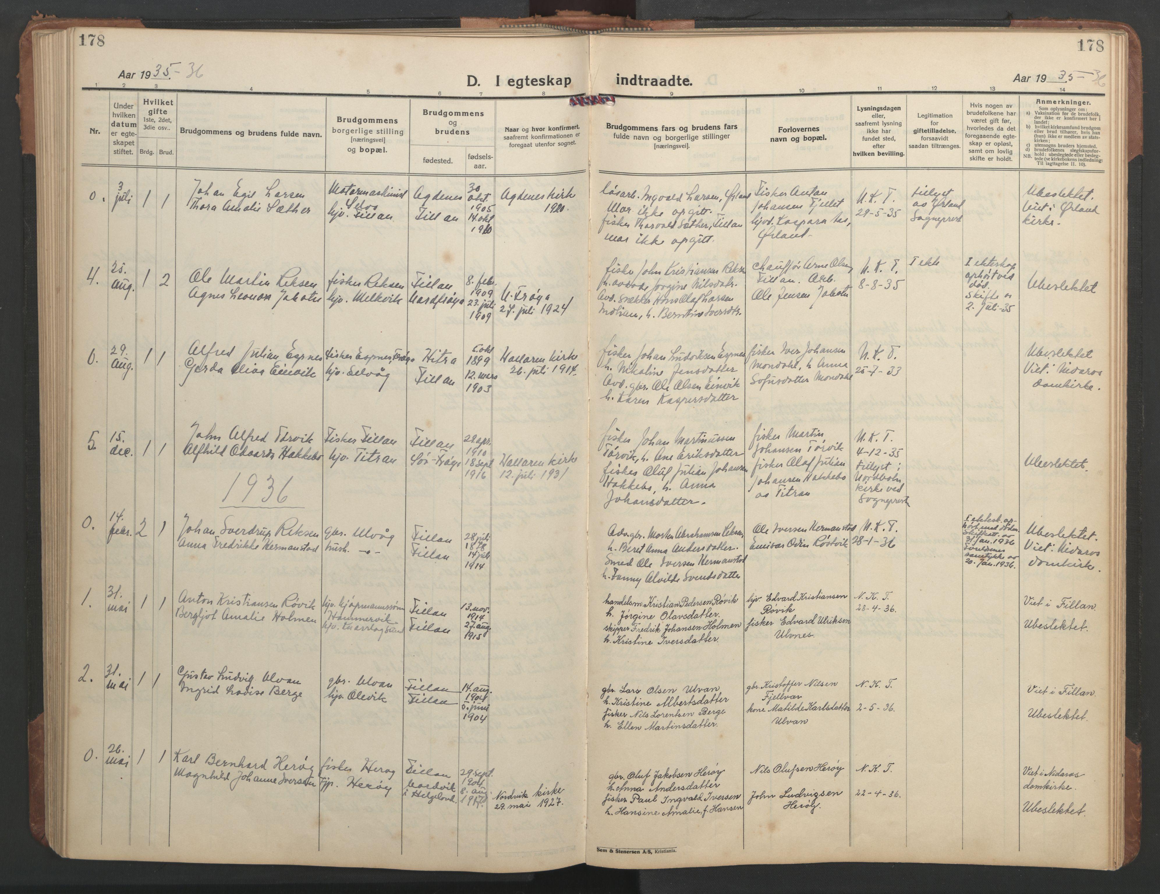 SAT, Ministerialprotokoller, klokkerbøker og fødselsregistre - Sør-Trøndelag, 638/L0569: Klokkerbok nr. 638C01, 1923-1961, s. 178